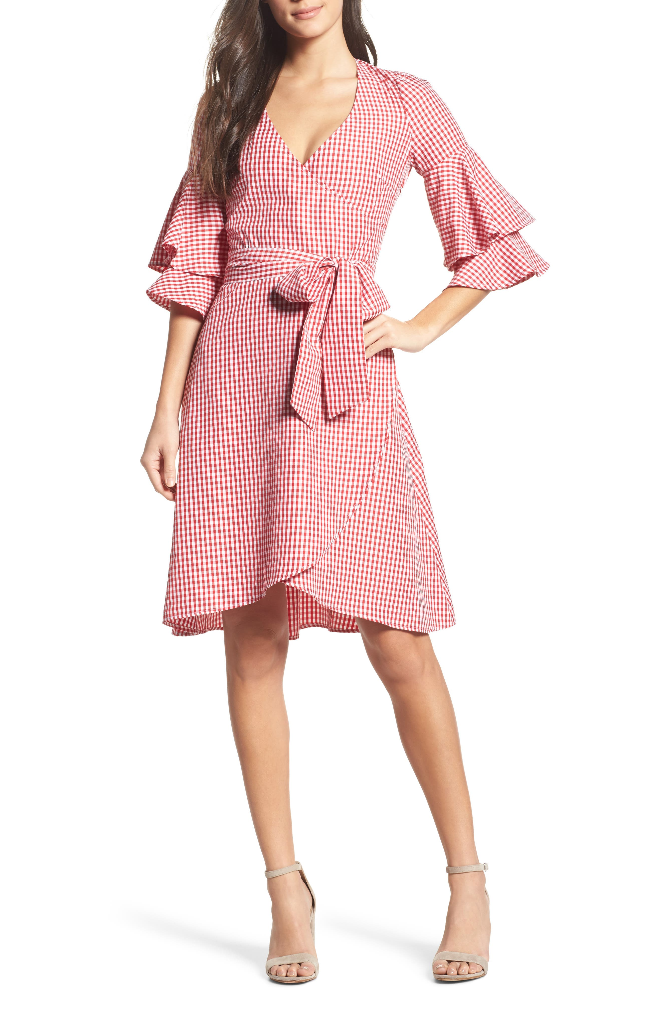 Ruffle Wrap Dress,                             Main thumbnail 1, color,                             Red/ White Gingham