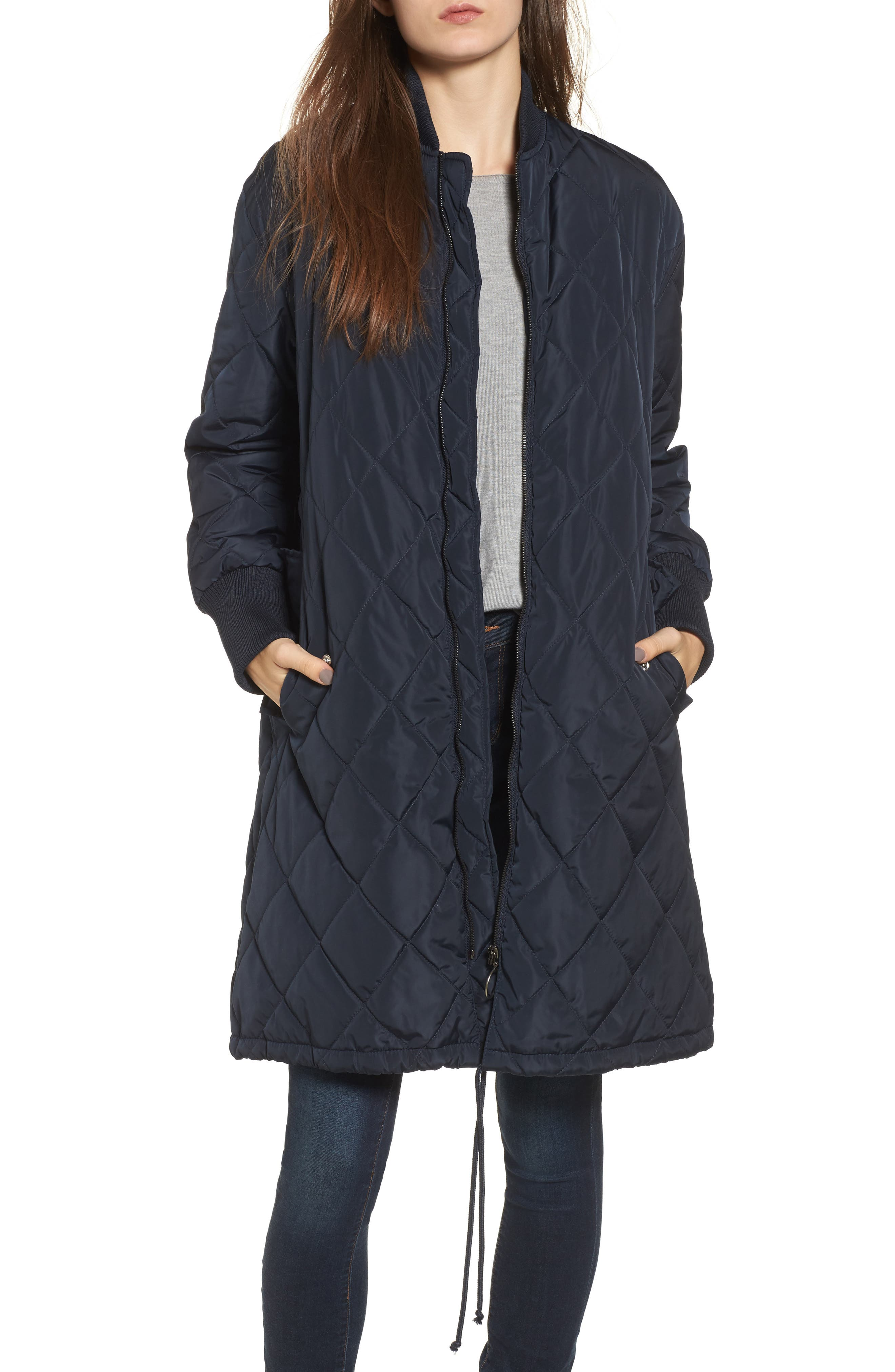 Merchant Long Quilted Jacket,                         Main,                         color, Navy