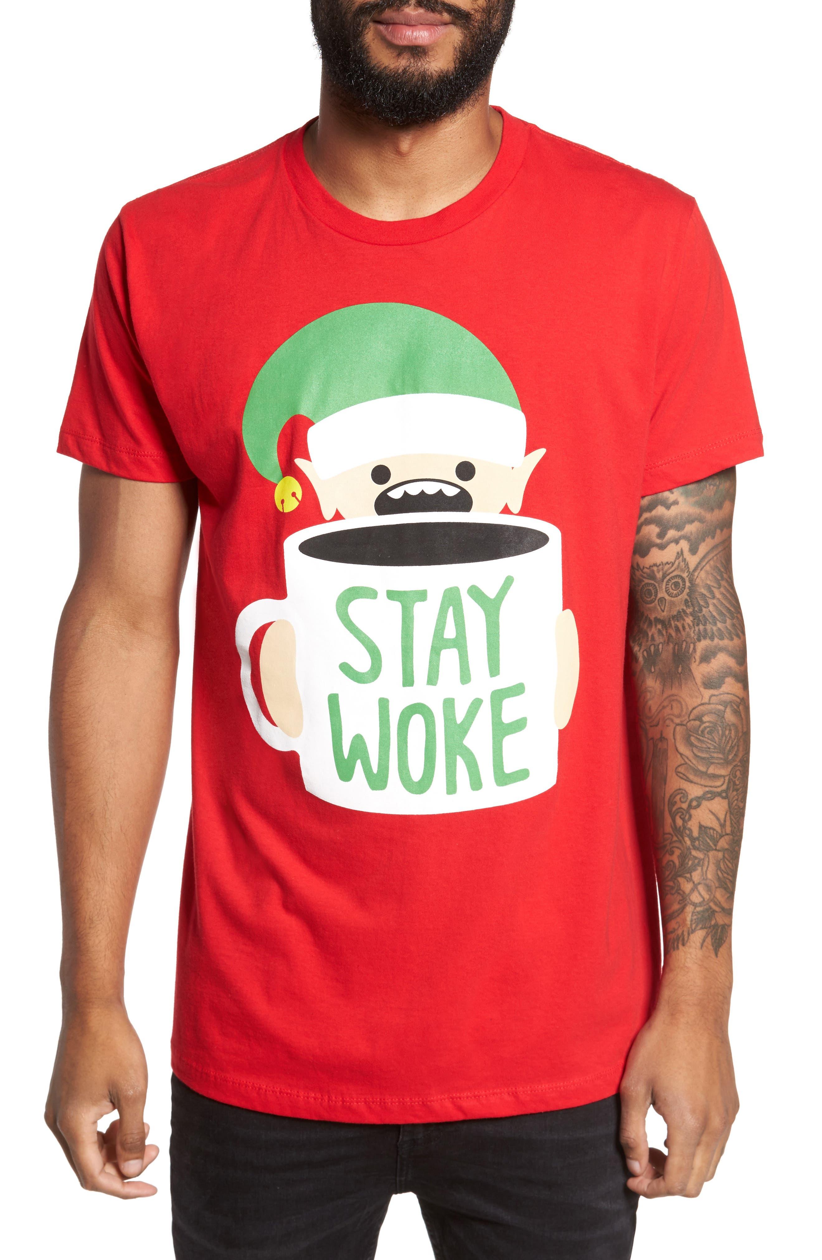 Stay Woke T-Shirt,                             Main thumbnail 1, color,                             Red Stay Woke