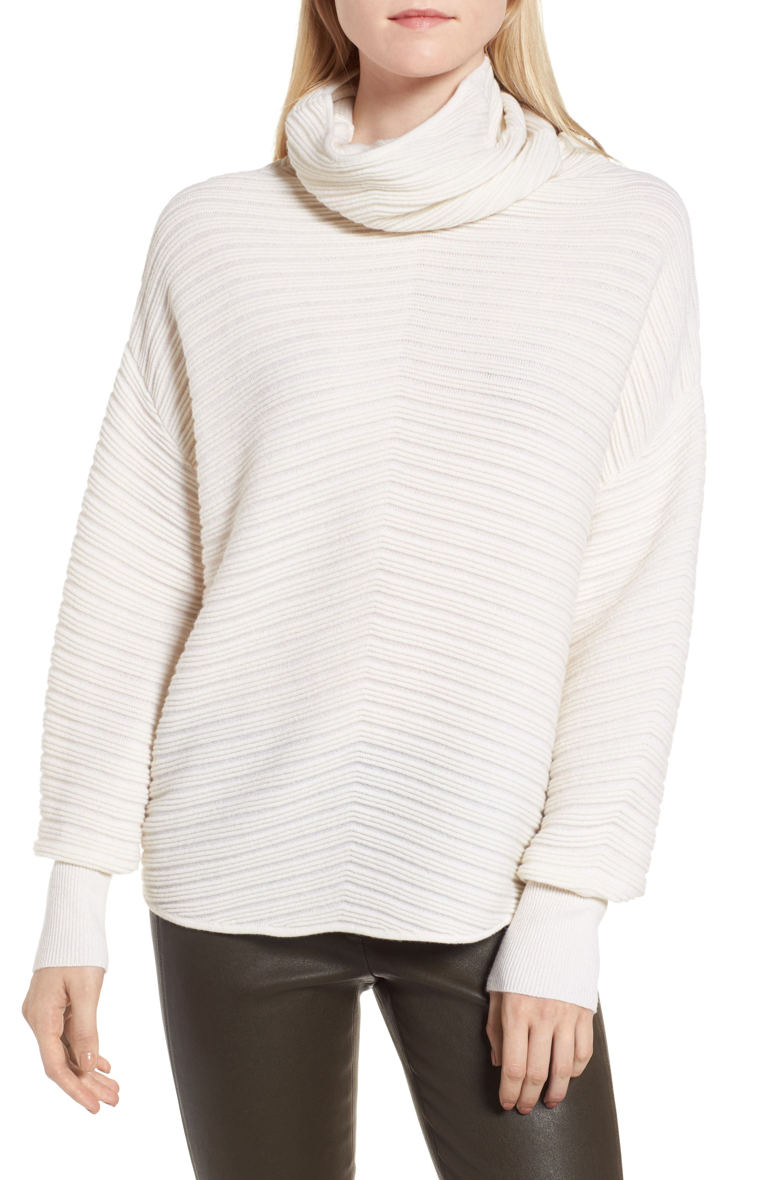 Alternate Image 1 Selected - Nordstrom Signature Scrunch Neck Ottoman Knit Cashmere Sweater