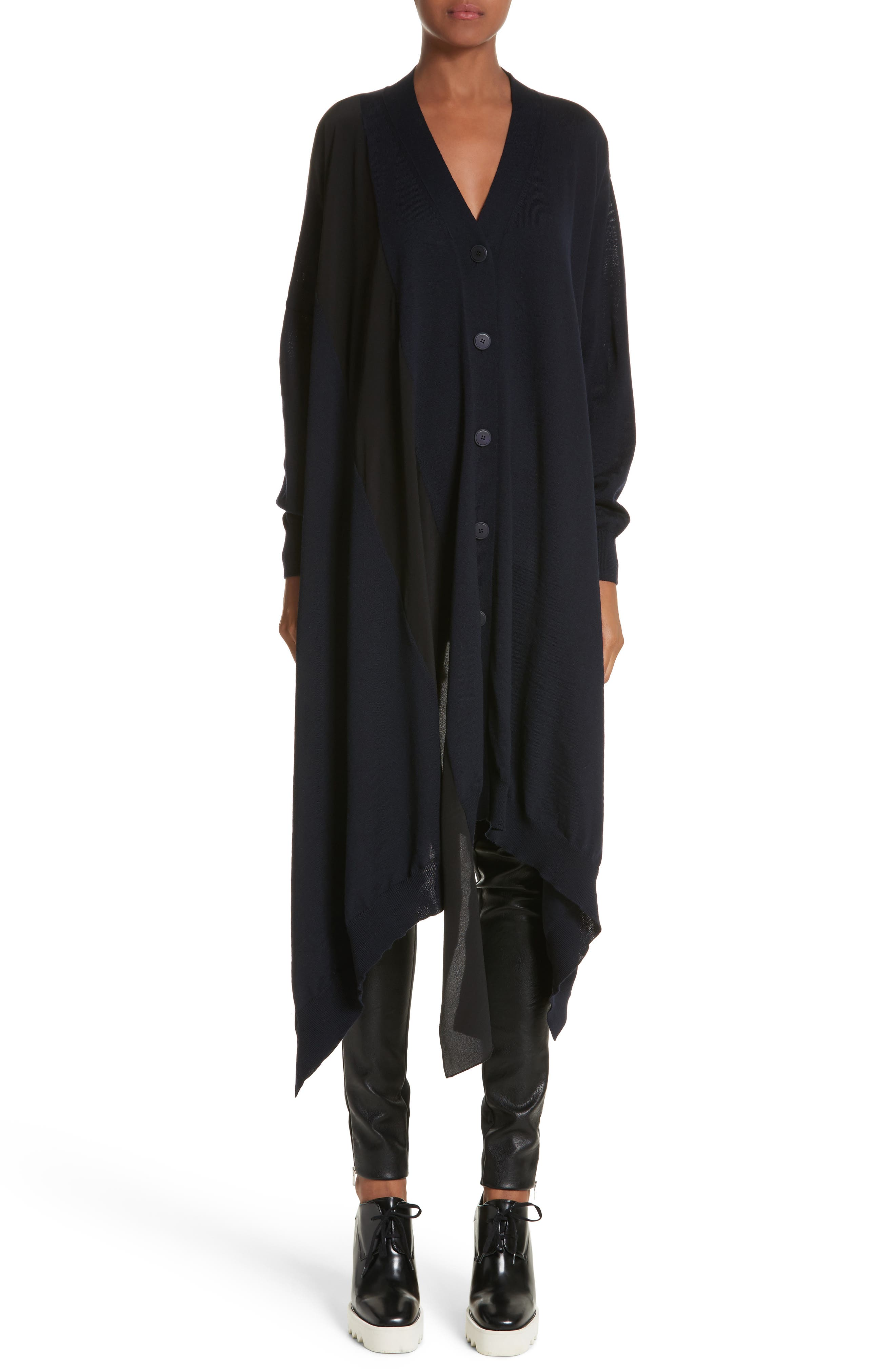 Main Image - Stella McCartney Virgin Wool Cardigan with Silk Inset