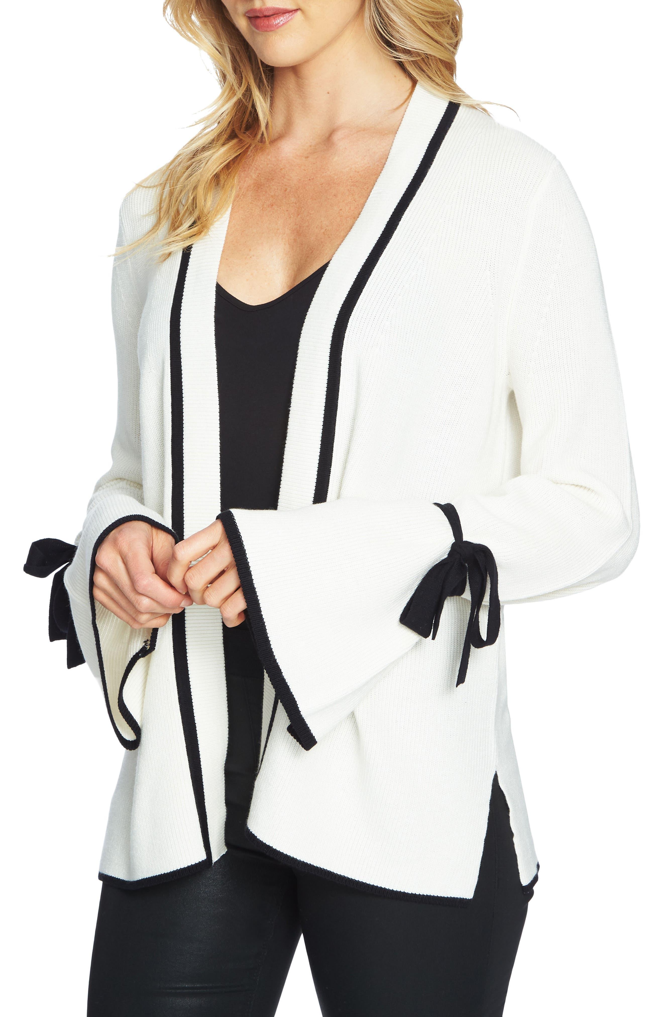 CeCe Tie Bell Sleeve Cardigan