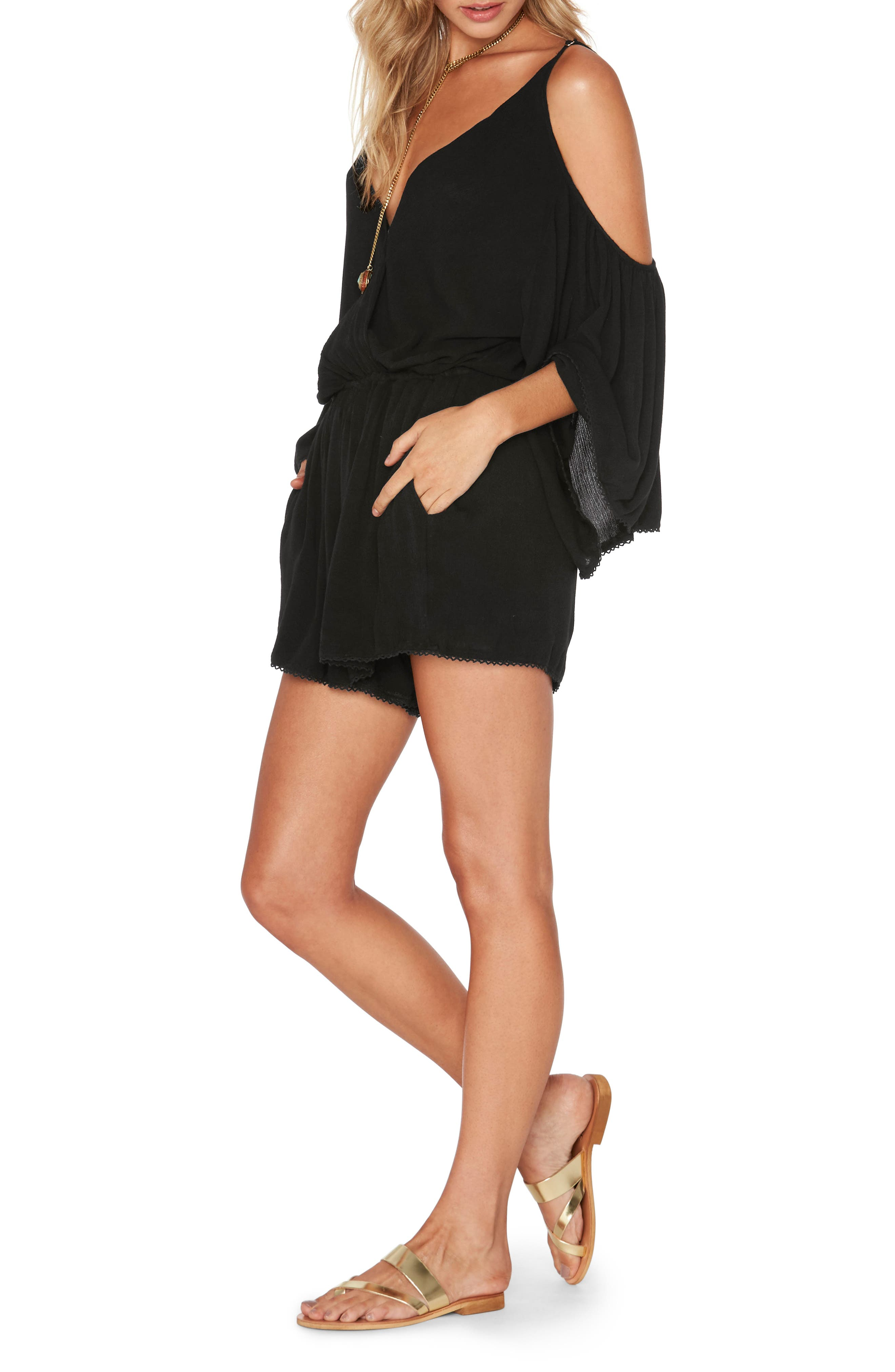 Soho Cold Shoulder Cover-Up Romper,                             Alternate thumbnail 3, color,                             Black