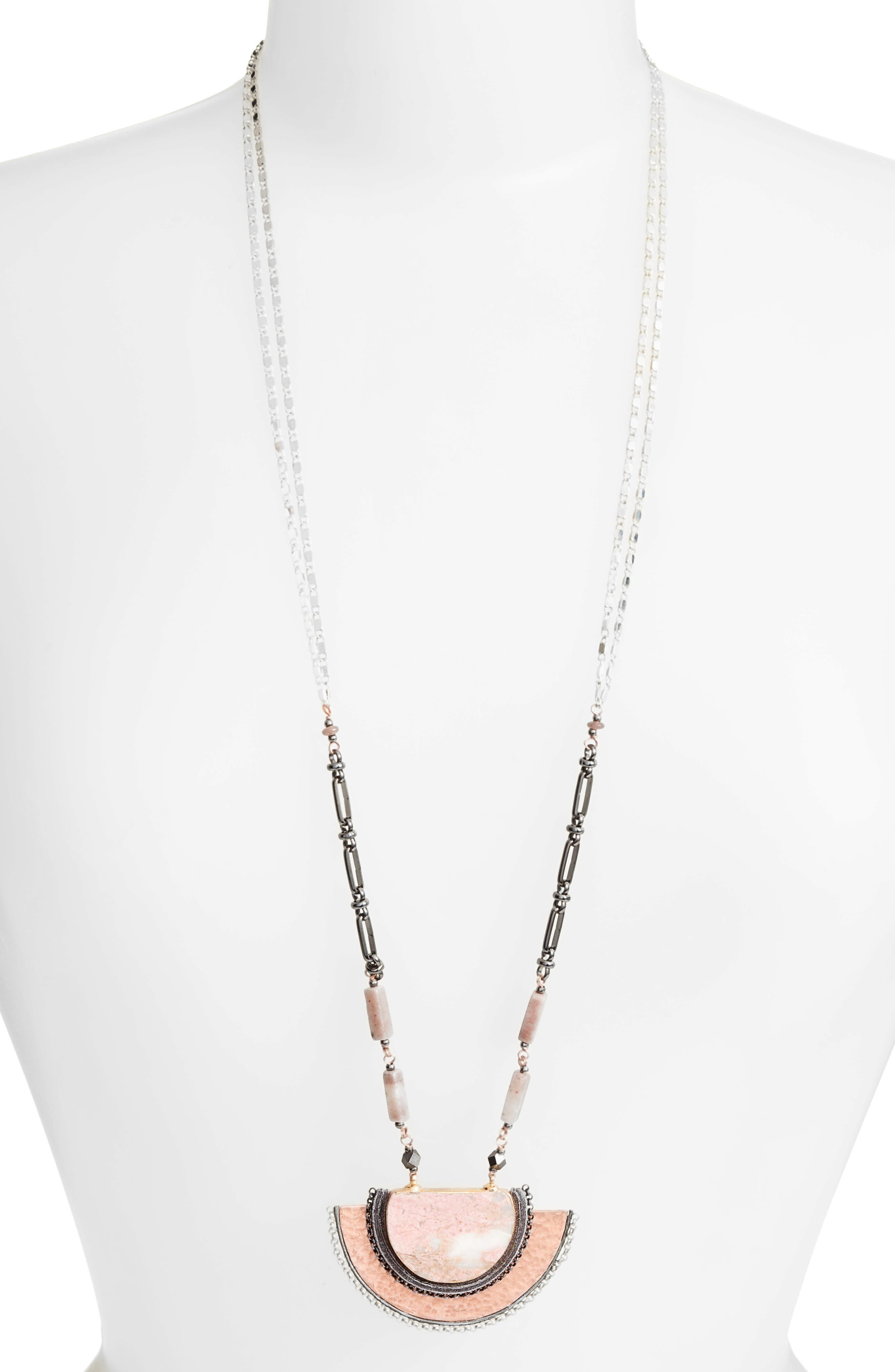 Alternate Image 1 Selected - Nakamol Design Half Moon Stone Pendant Necklace