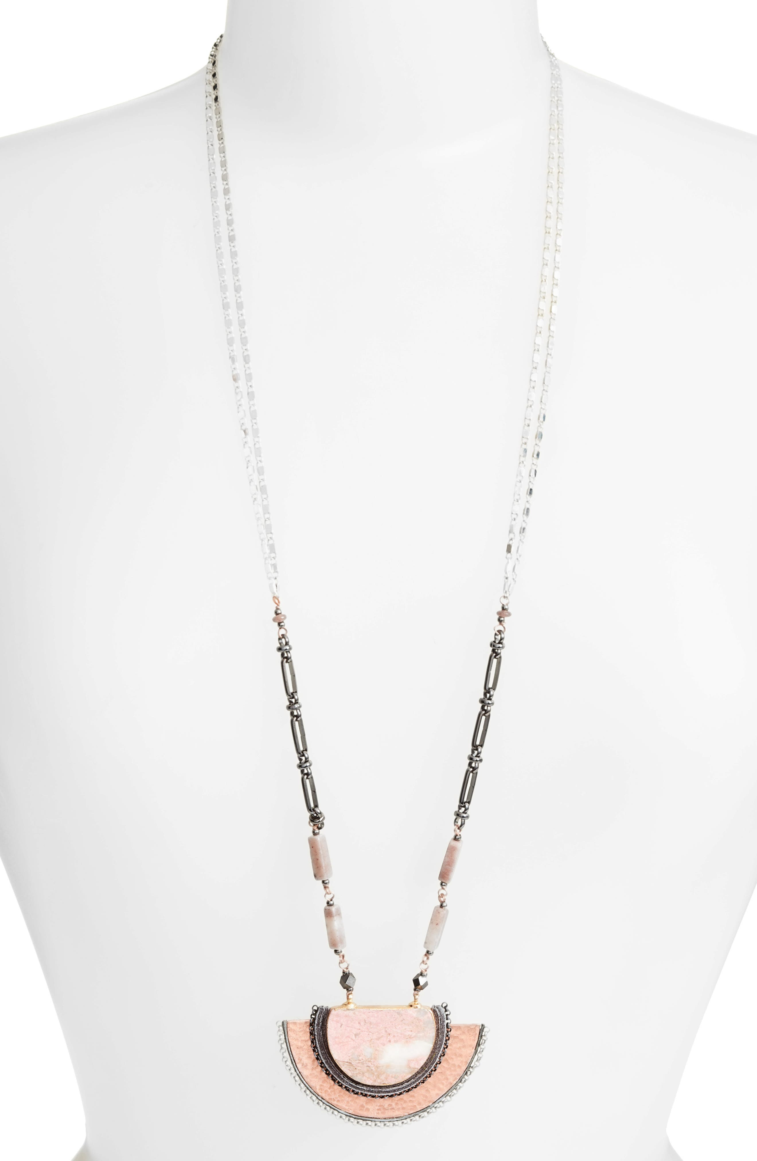 Half Moon Stone Pendant Necklace,                         Main,                         color, Nude