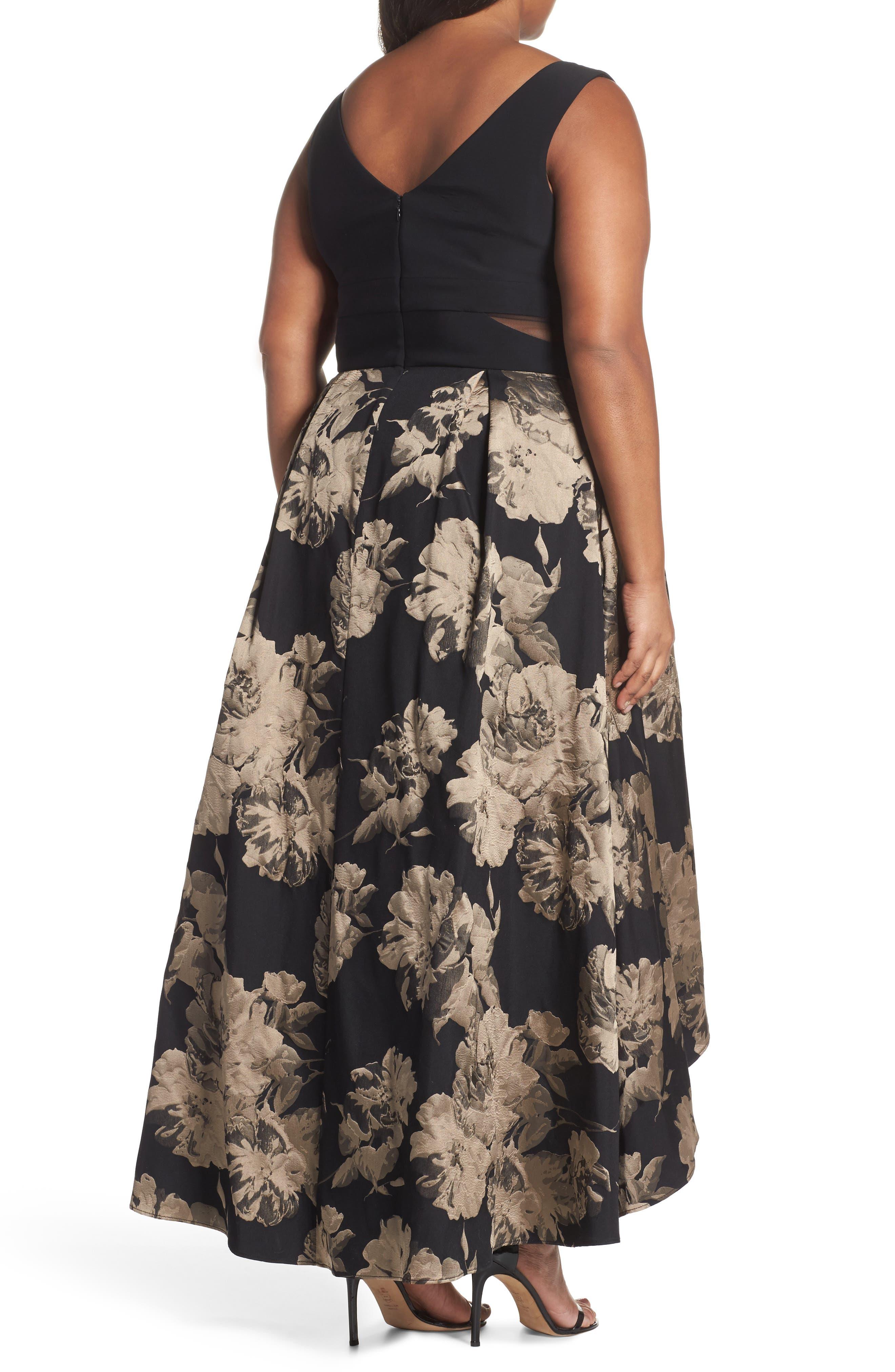 Mesh Waist High/Low Brocade Dress,                             Alternate thumbnail 2, color,                             Black/ Champagne