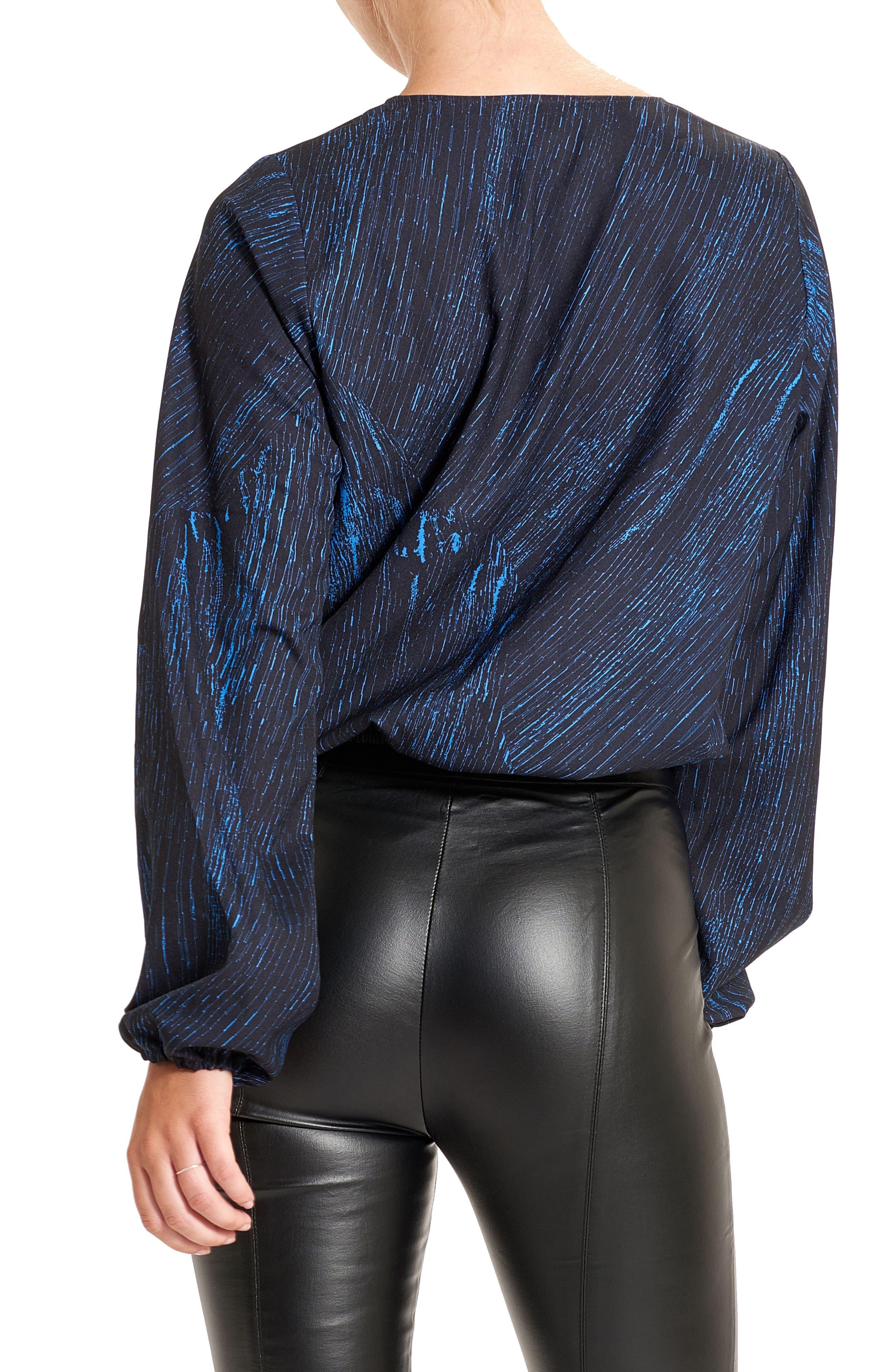 Tie Front Top,                             Alternate thumbnail 2, color,                             Bleu/ Black