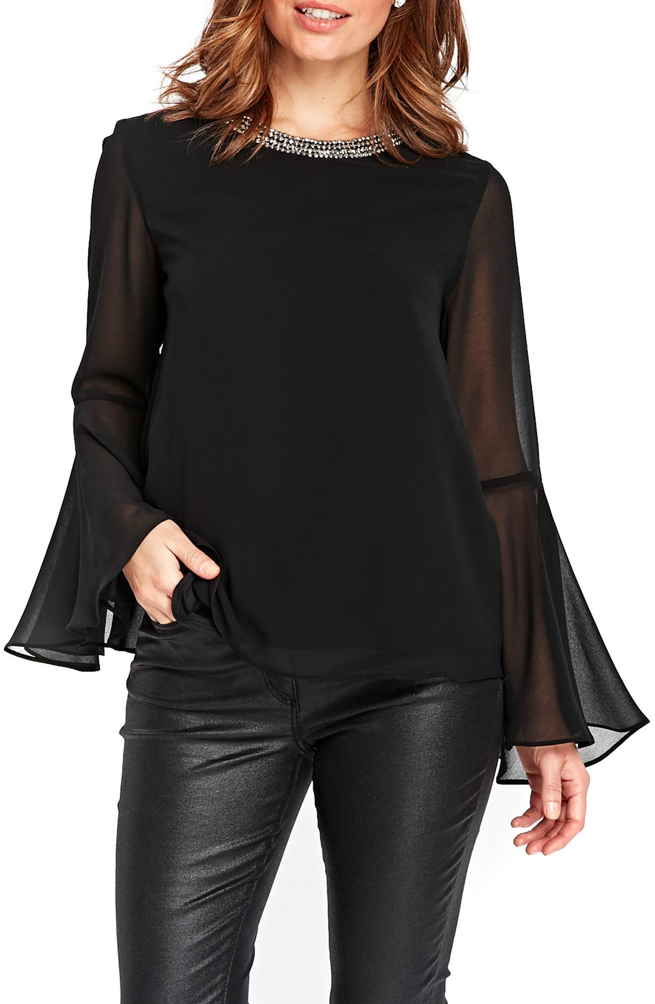 Embellished Neck Top,                         Main,                         color, Black