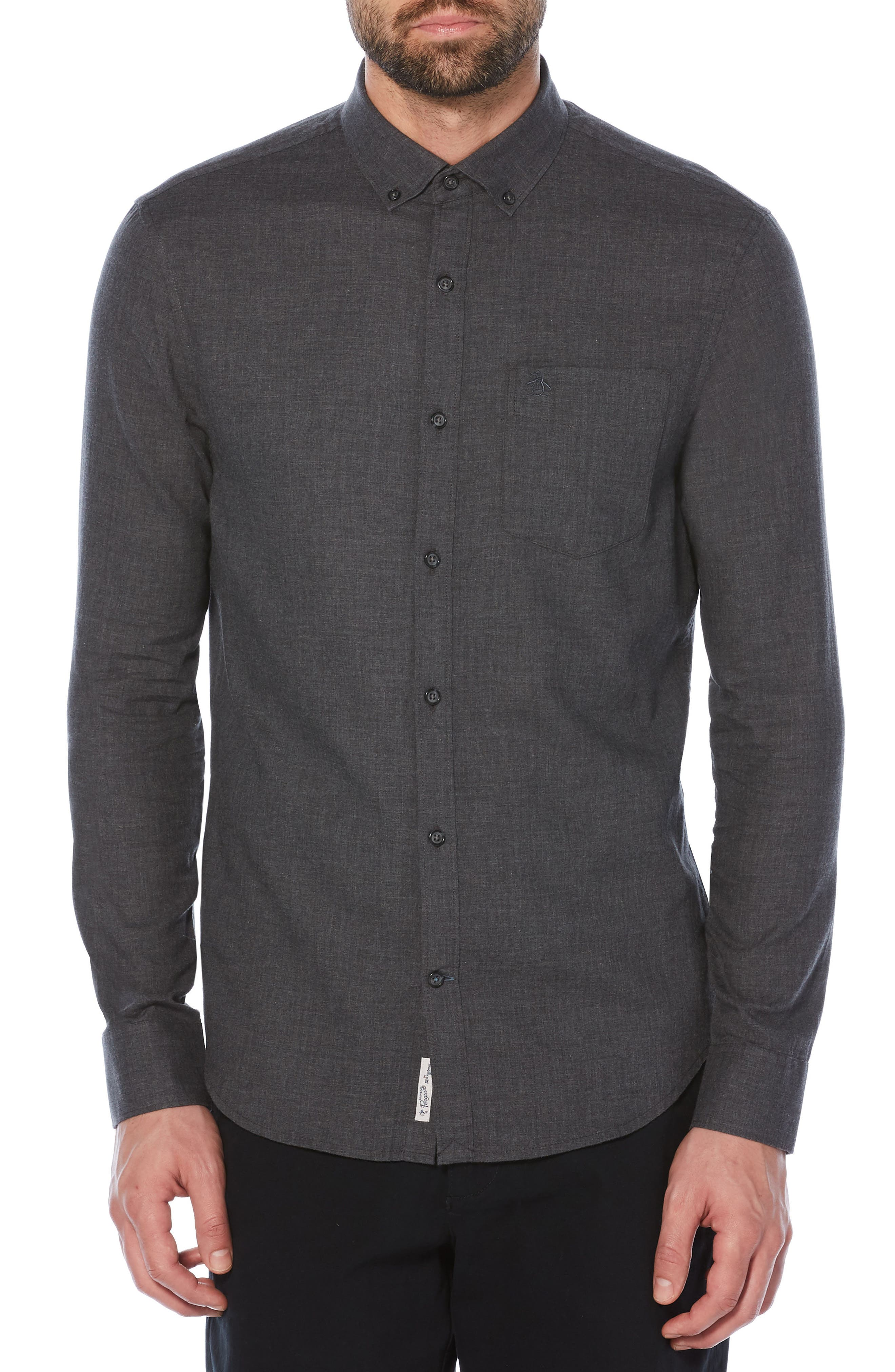 Slim Fit Crosshatch Shirt,                             Main thumbnail 1, color,                             Dark Charcoal
