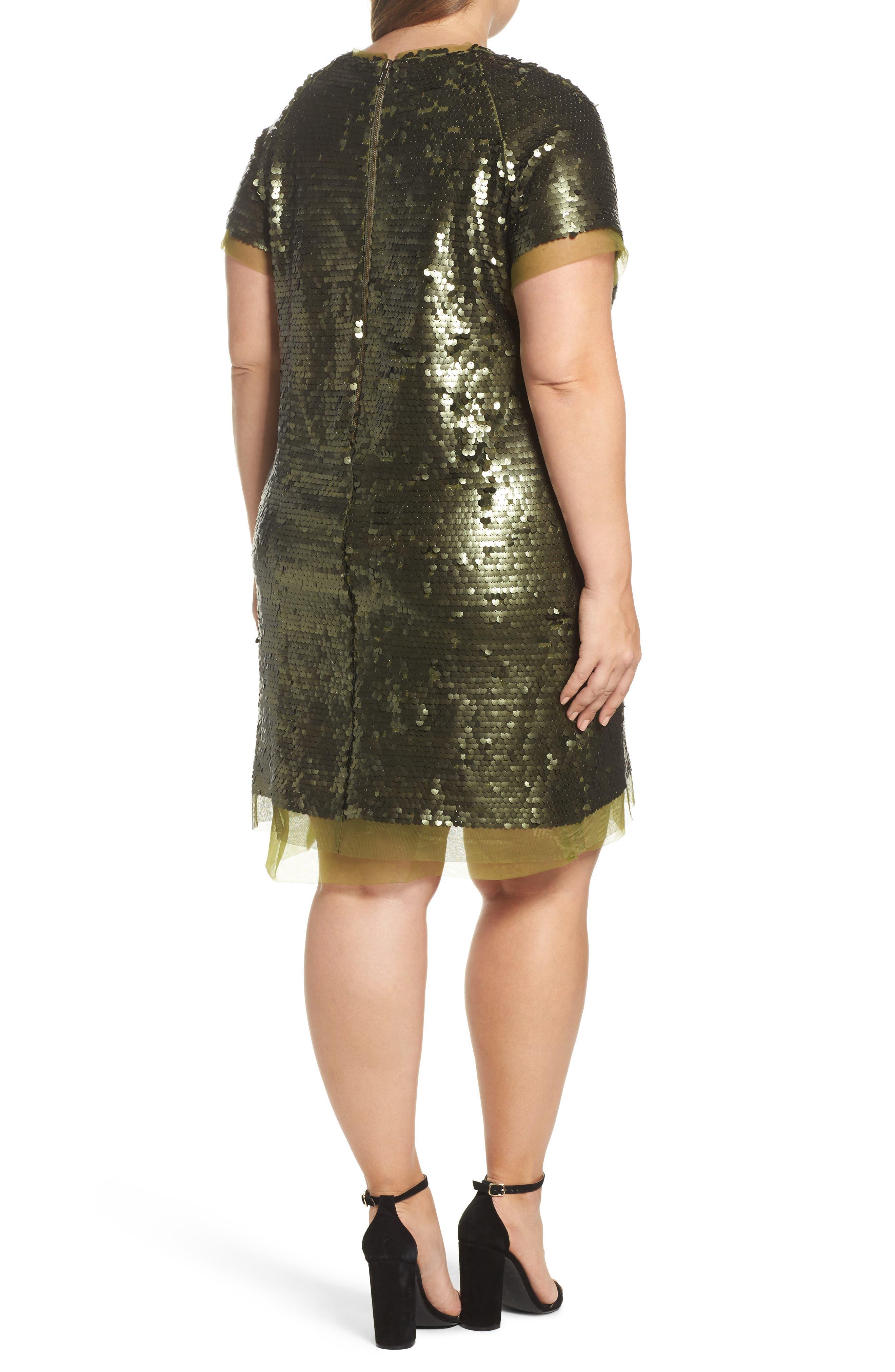 Alternate Image 2  - ELVI Sequin Mini Dress (Plus Size)