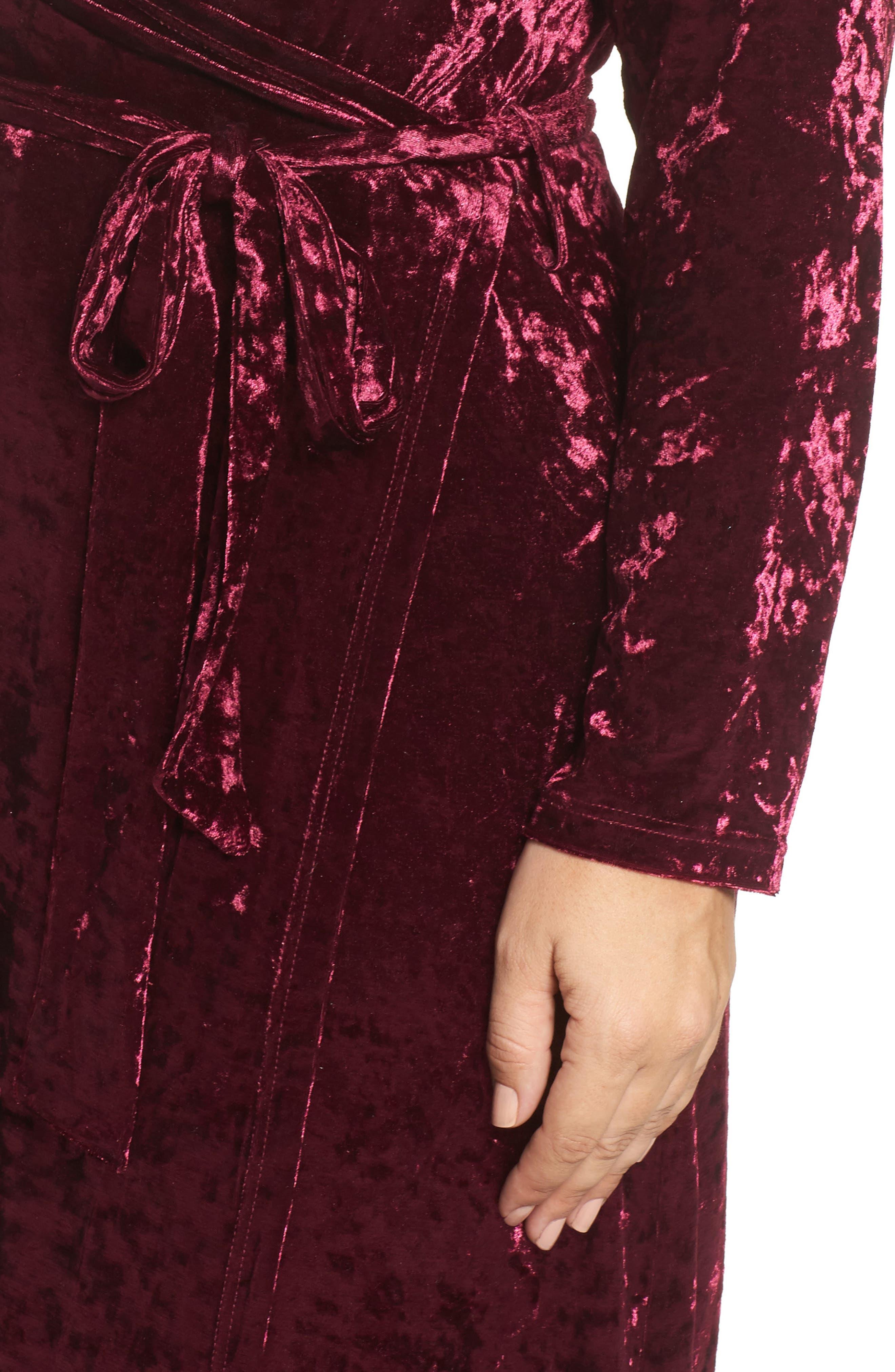 Velvet Midi Wrap Dress,                             Alternate thumbnail 4, color,                             Burgundy
