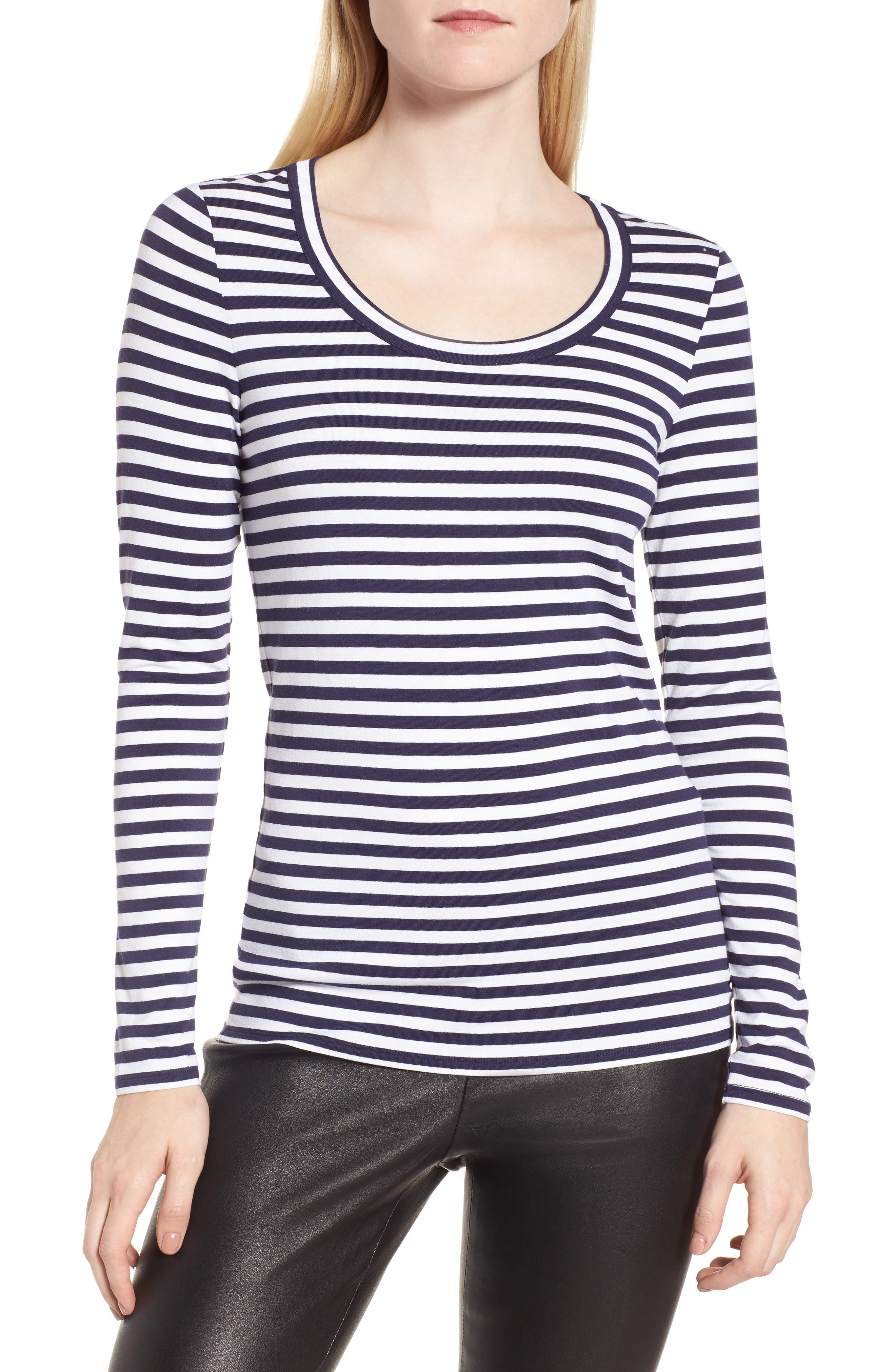 Stripe Long Sleeve Tee,                         Main,                         color, Navy- Ivory Even Stripe