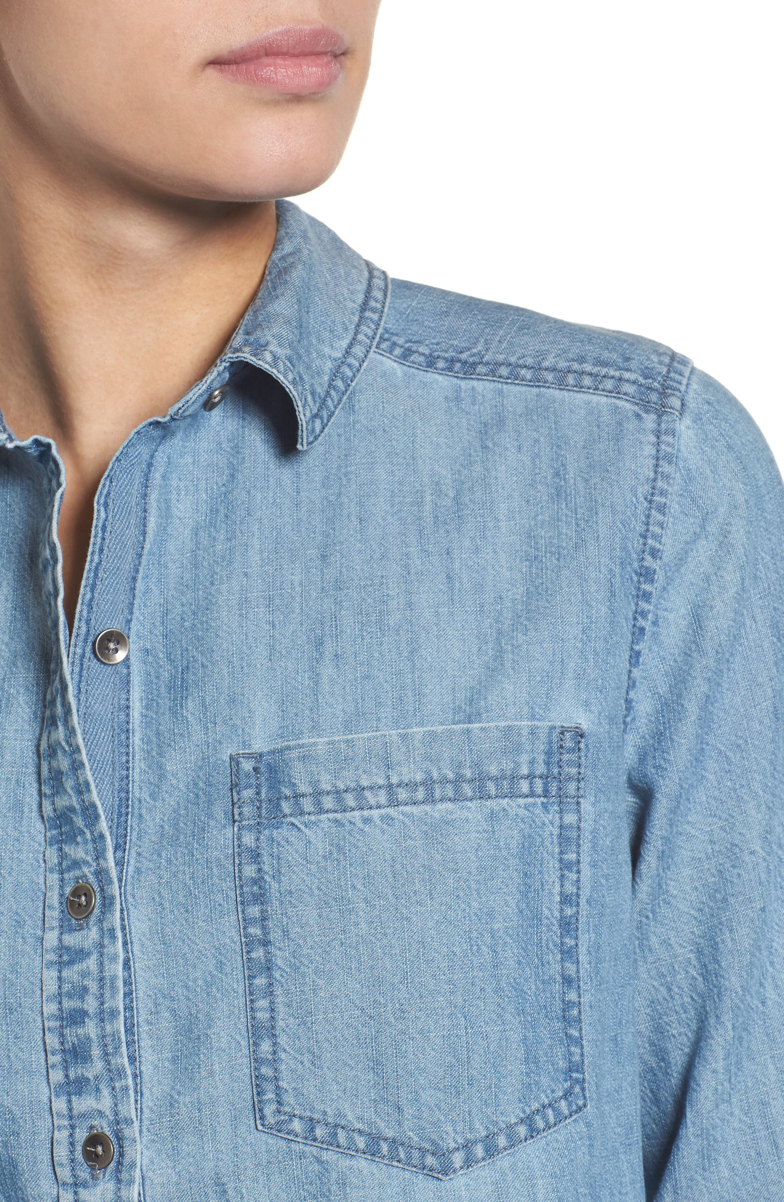 Button Front Chambray Shirt,                             Alternate thumbnail 4, color,                             Chambray