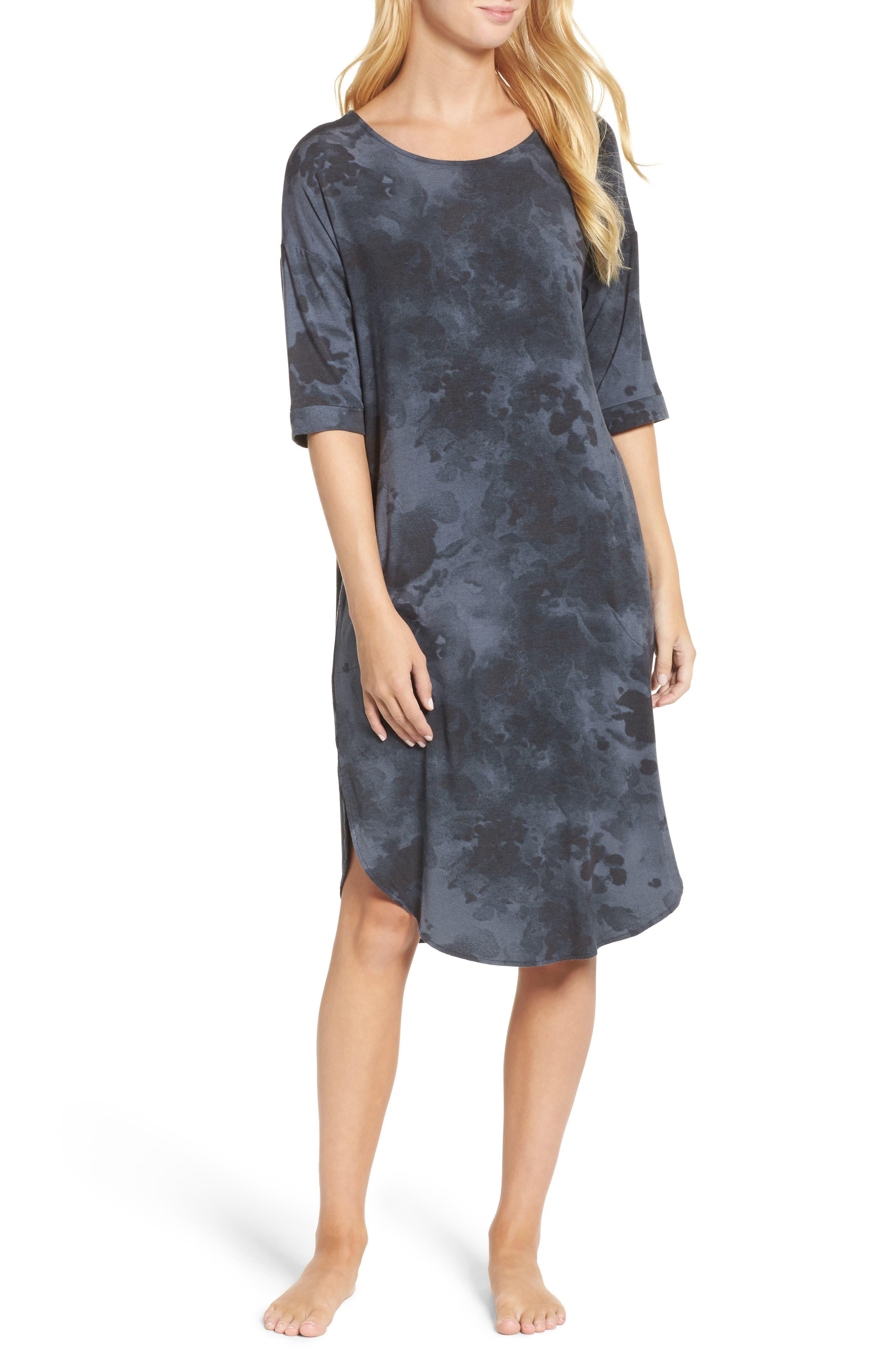 Jersey Sleep Shirt,                         Main,                         color, Grey Floral