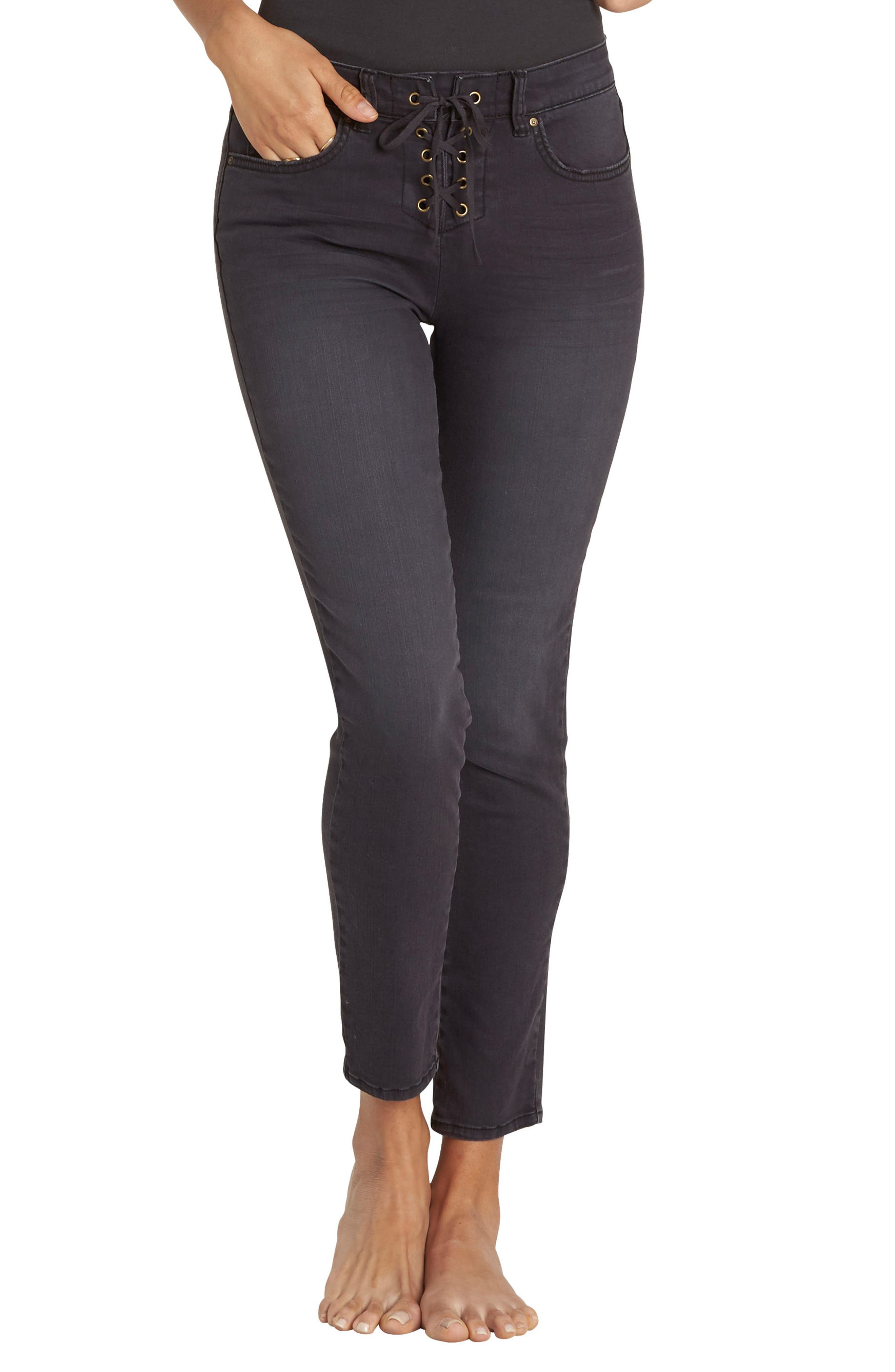 Main Image - Billabong Side By Side Lace Up Skinny Jeans