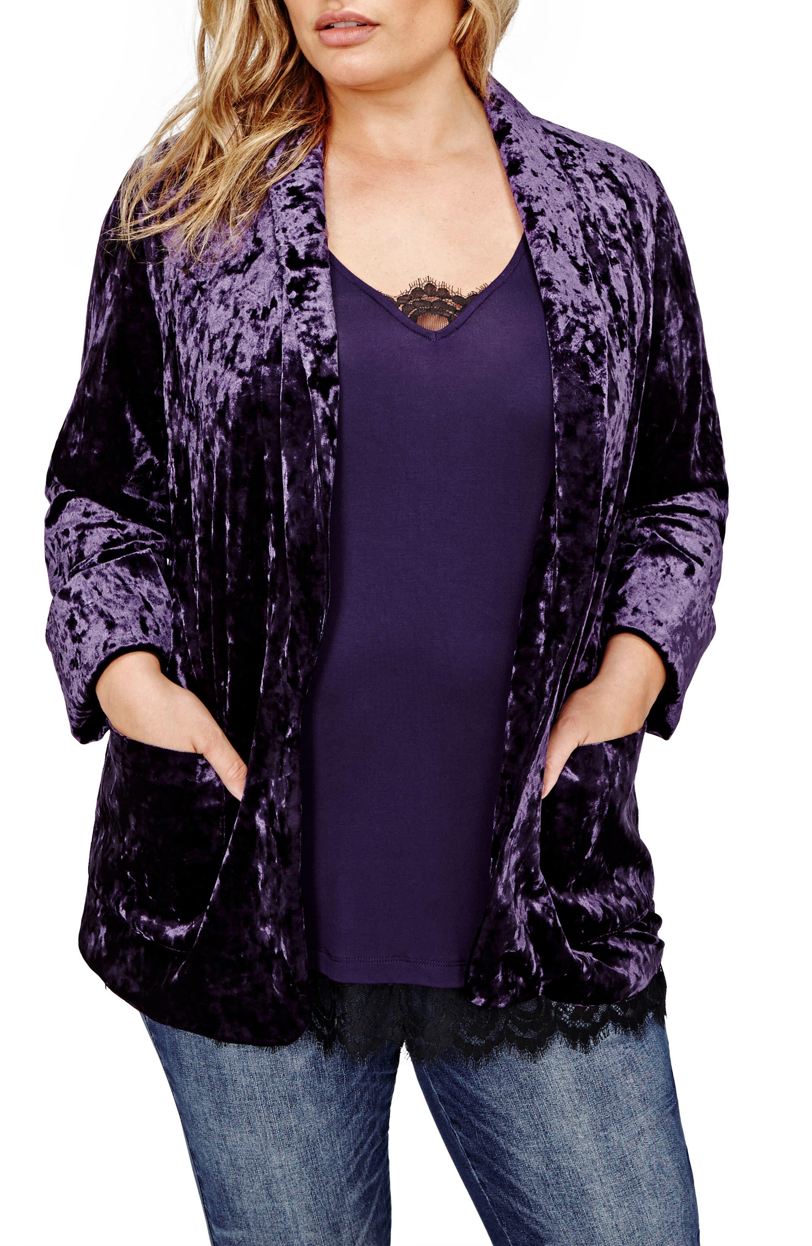 Alternate Image 1 Selected - Michel Studio Crushed Velvet One-Button Jacket (Plus Size)