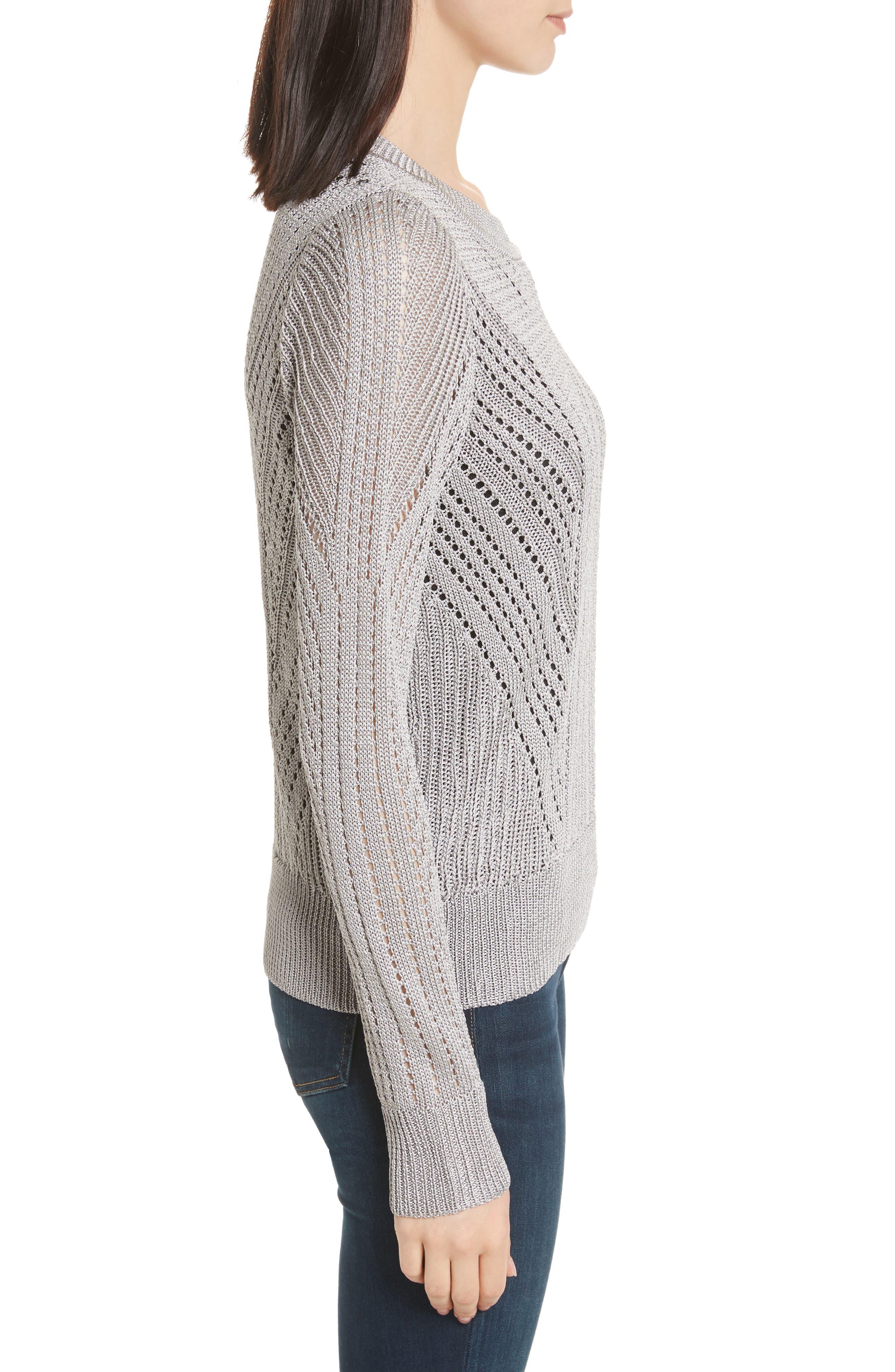 Pamela Crewneck Pointelle Sweater,                             Alternate thumbnail 3, color,                             Silver