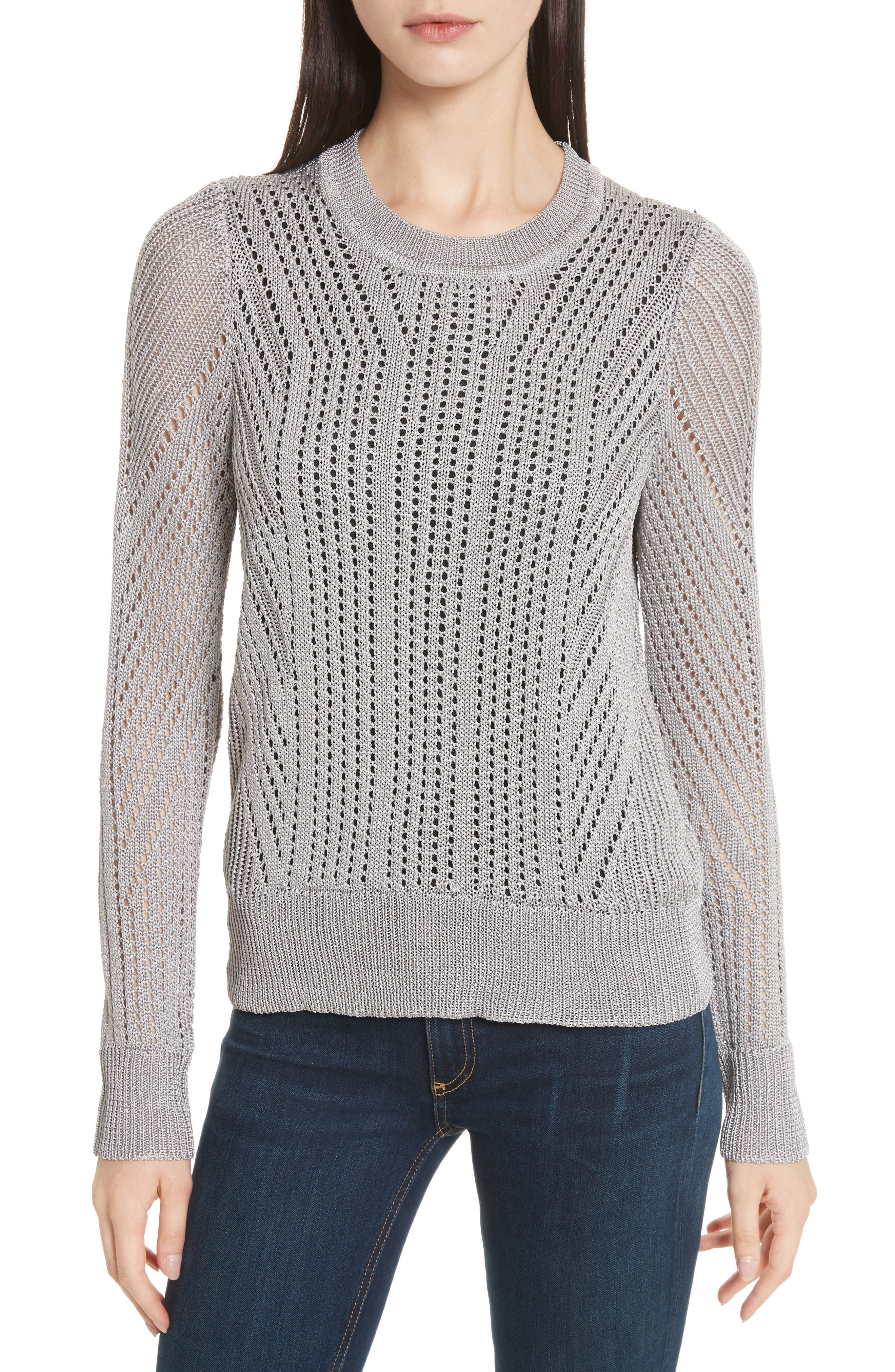 Pamela Crewneck Pointelle Sweater,                         Main,                         color, Silver
