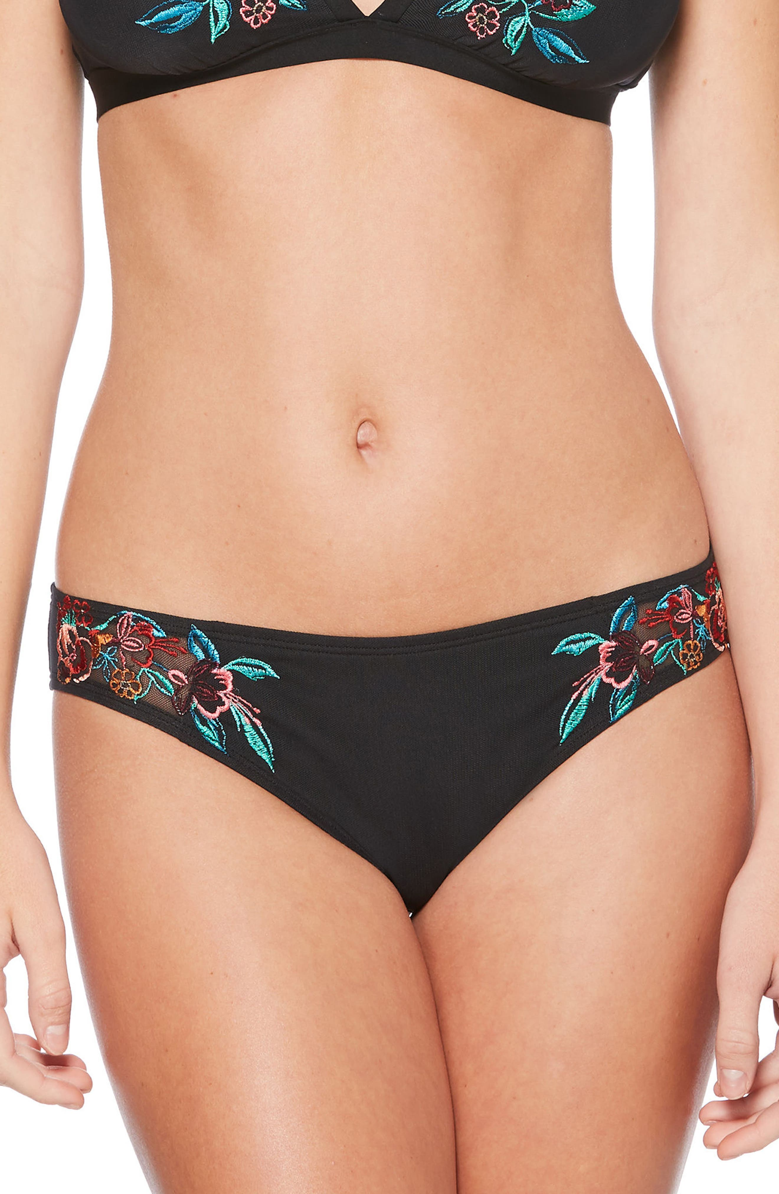 Embroidered Mesh Hipster Bikini Bottoms,                         Main,                         color, Black