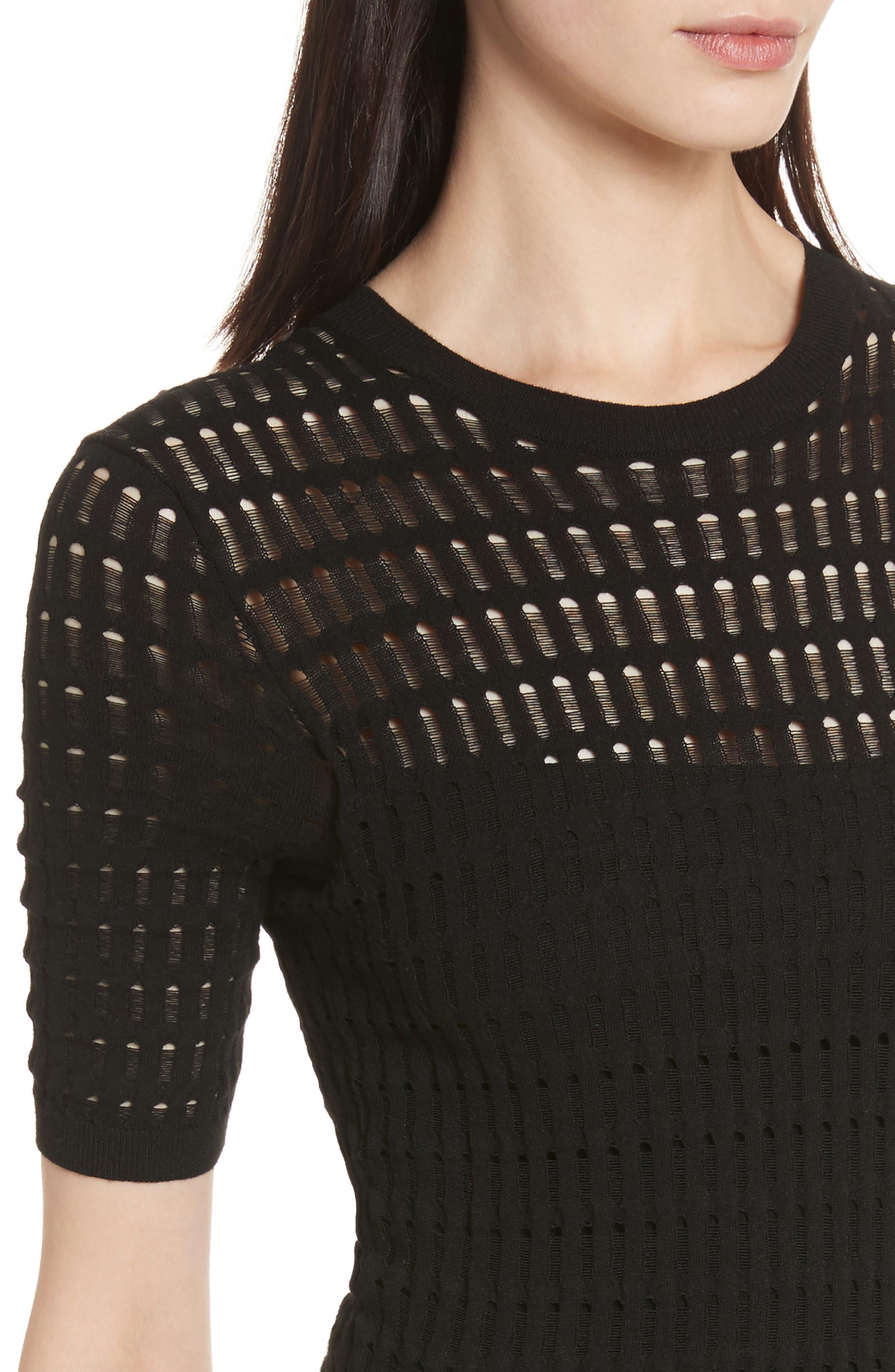 Float Stitch Lace Dress,                             Alternate thumbnail 4, color,                             Black