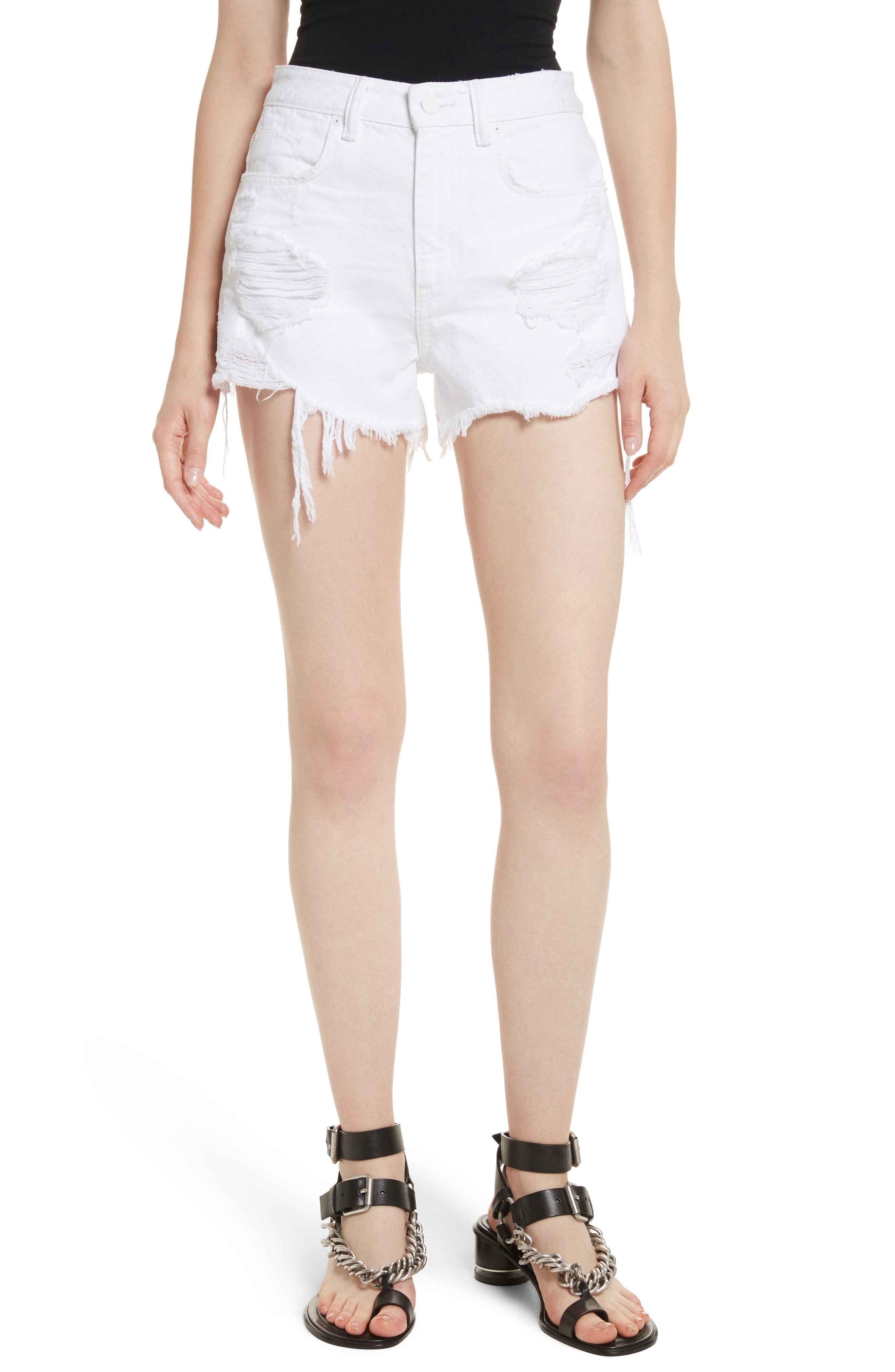 Bite White Ripped Denim Shorts,                         Main,                         color, Bleached Destroy