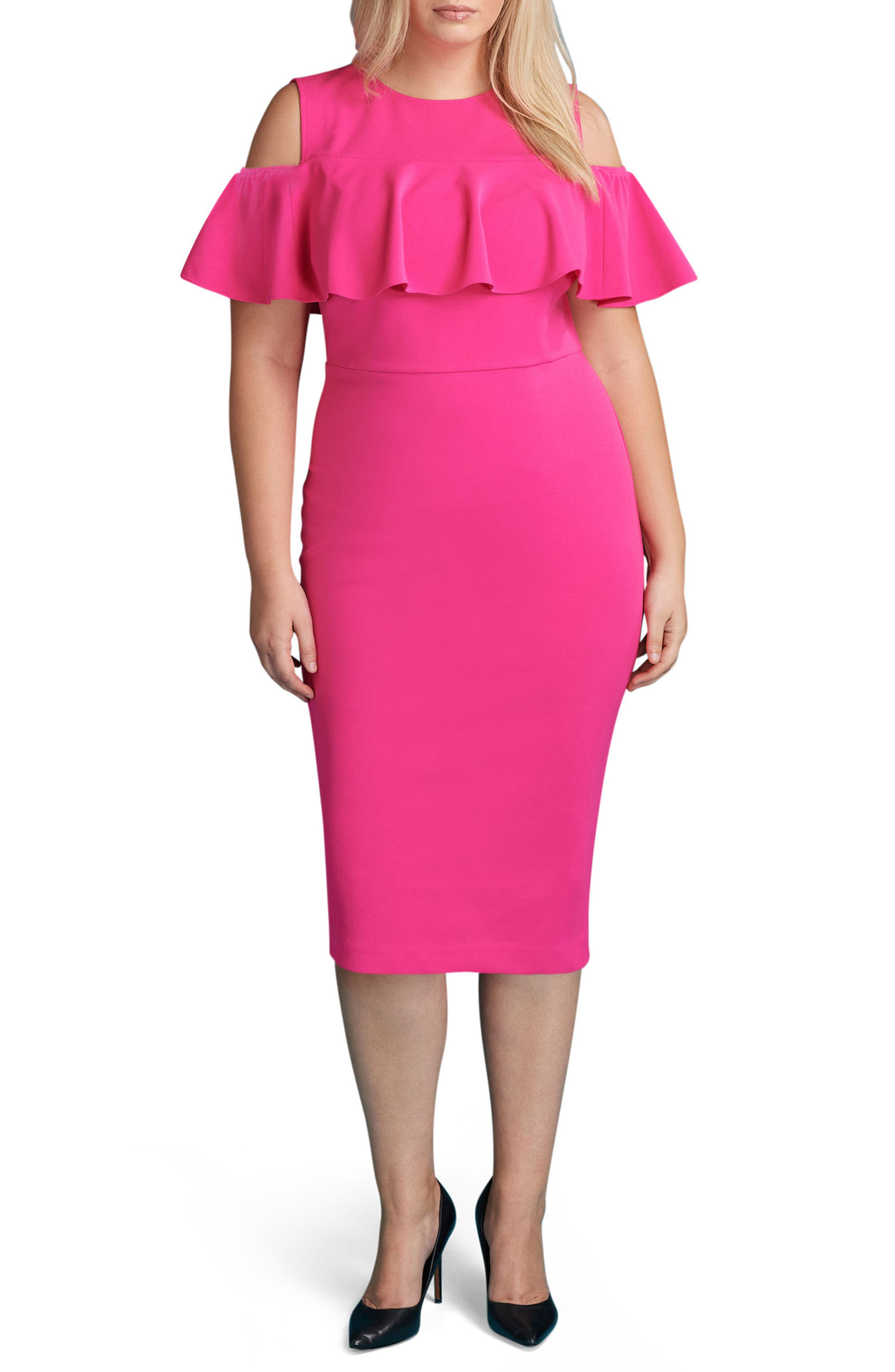 Main Image - ECI Cold Shoulder Ruffle Sheath Dress (Plus Size)