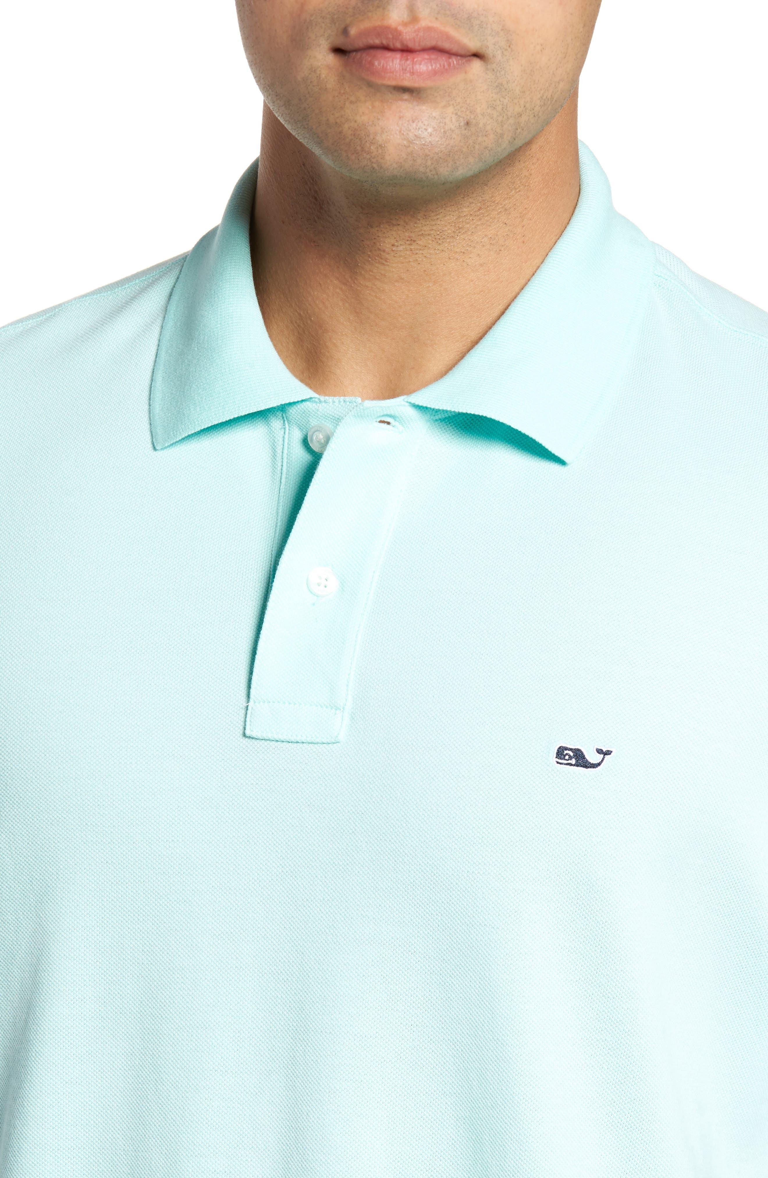 Classic Piqué Knit Polo,                             Alternate thumbnail 4, color,                             Blue Mist