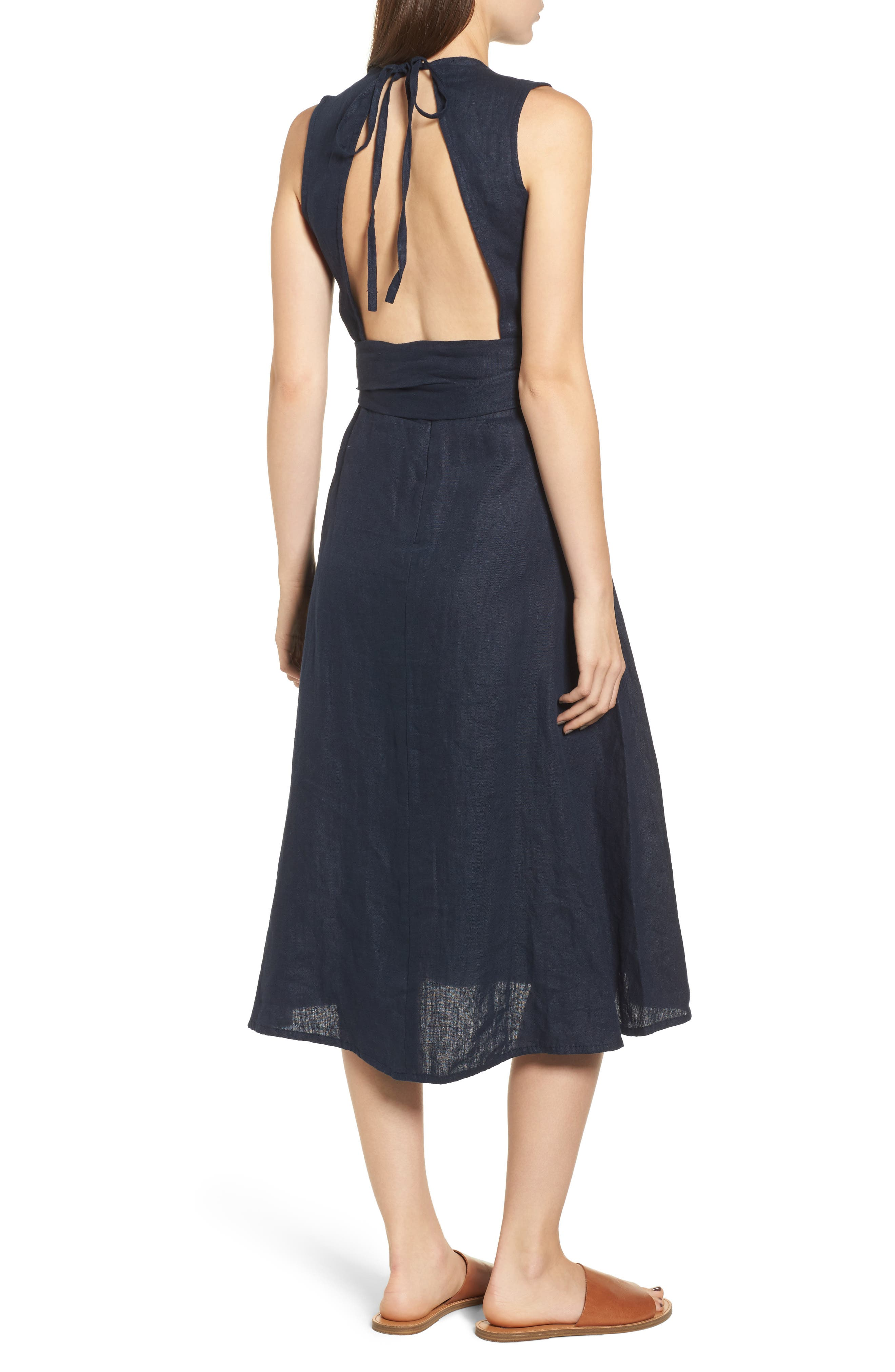 Le Roch Midi Dress,                             Alternate thumbnail 3, color,                             Plain Navy