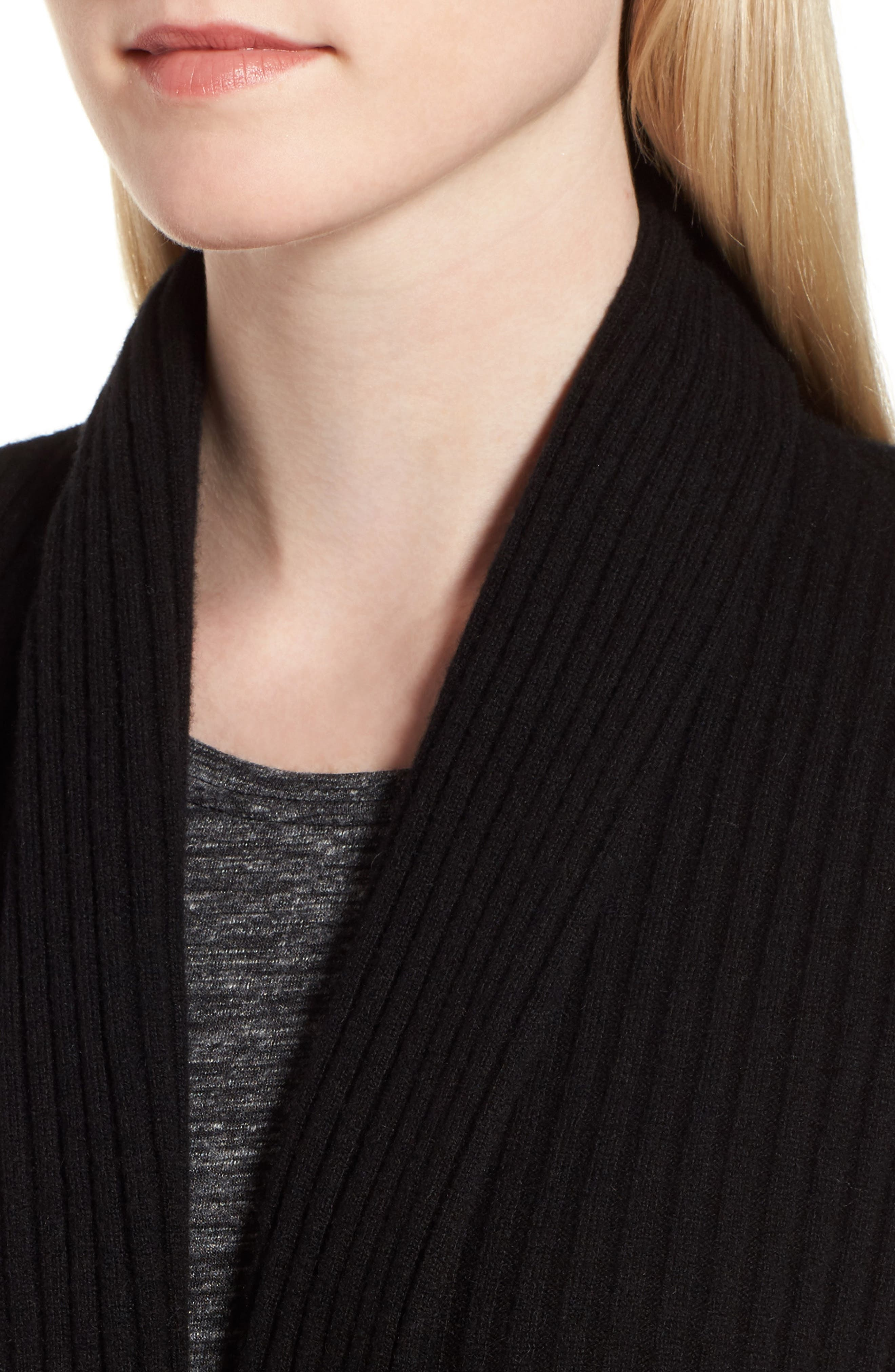 Rib Knit Cashmere Cardigan,                             Alternate thumbnail 2, color,                             Black