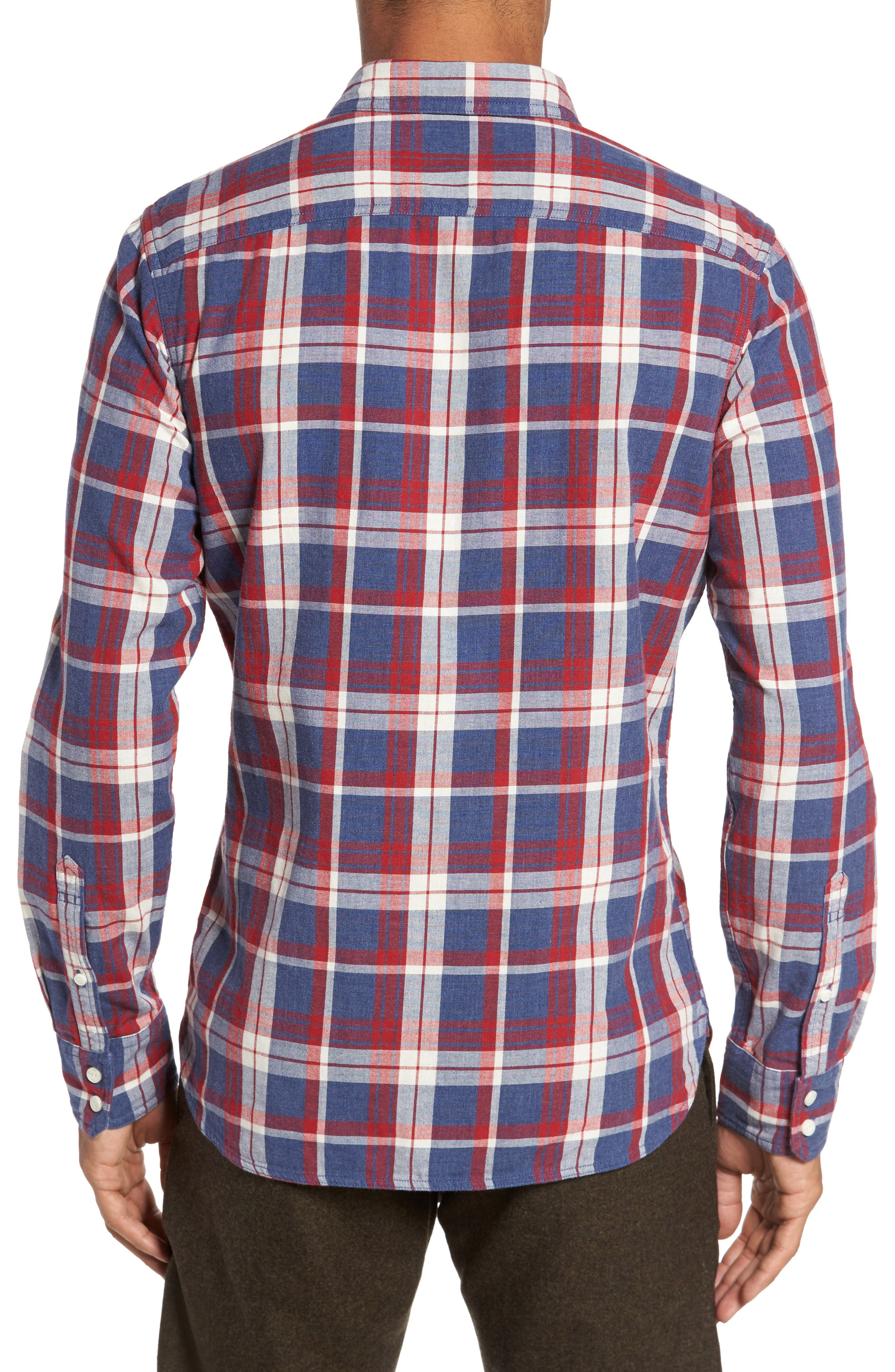 Trim Fit Workwear Duofold Plaid Sport Shirt,                             Alternate thumbnail 2, color,                             Blue Ensign Red Plaid Duofold