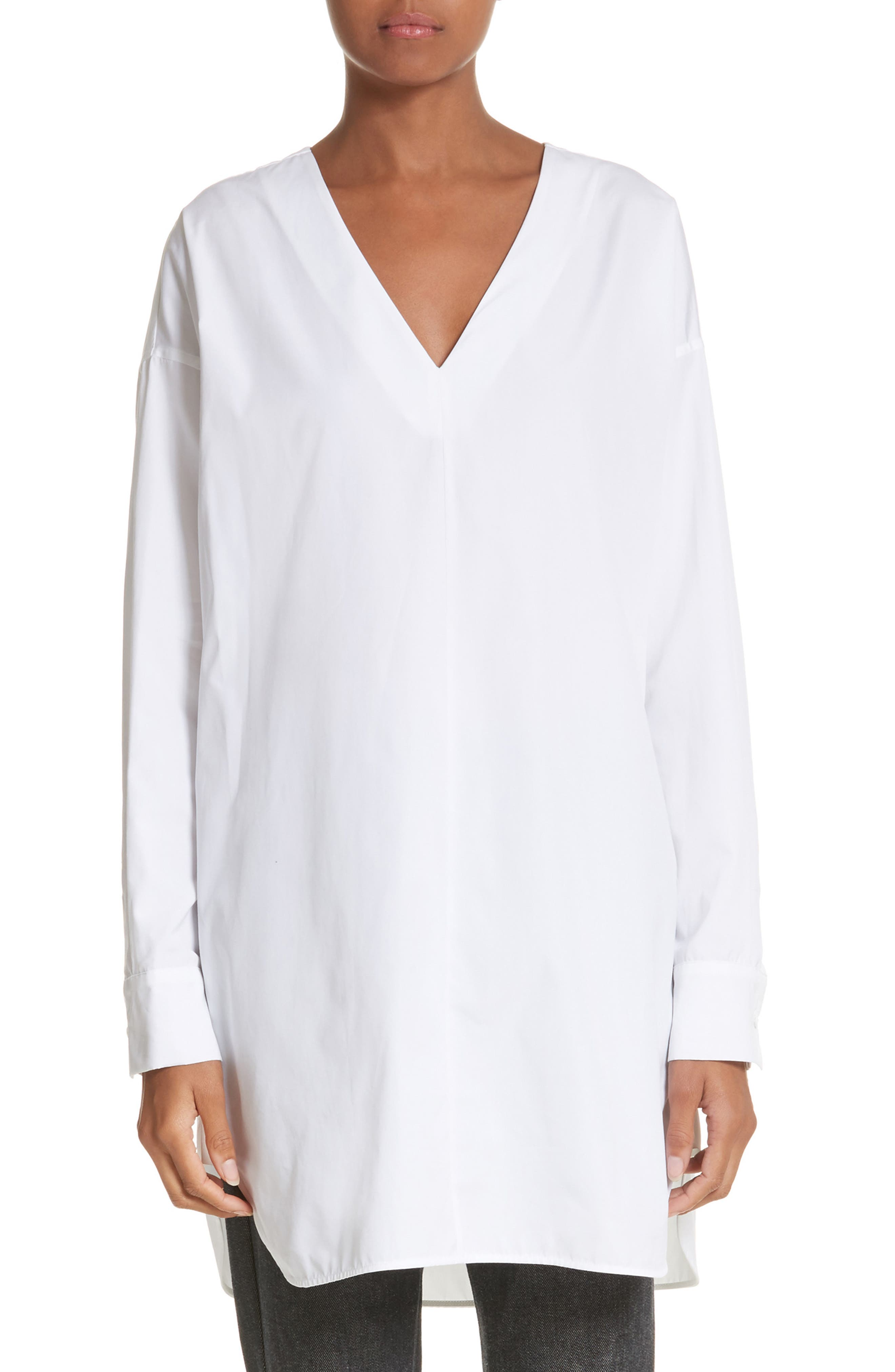 Jolly Cotton Poplin Tunic,                             Main thumbnail 1, color,                             Optical White