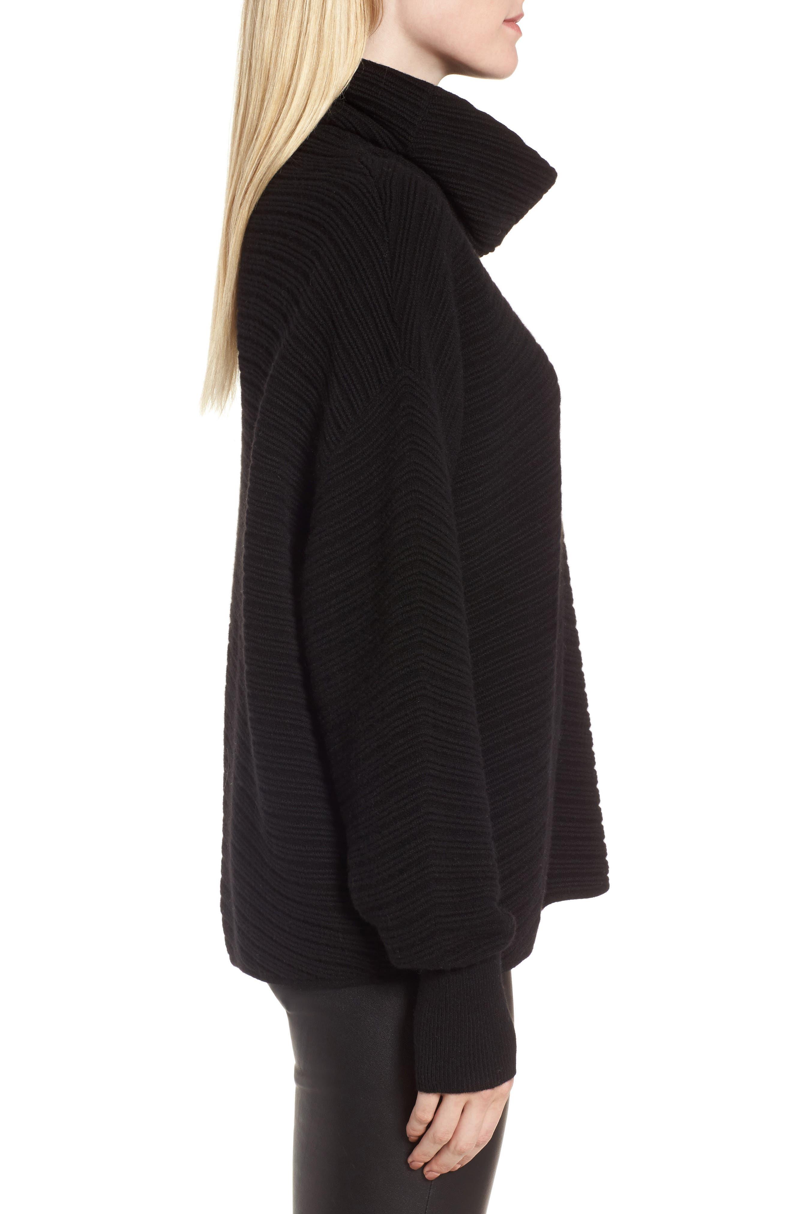 Scrunch Neck Ottoman Knit Cashmere Sweater,                             Alternate thumbnail 3, color,                             Black