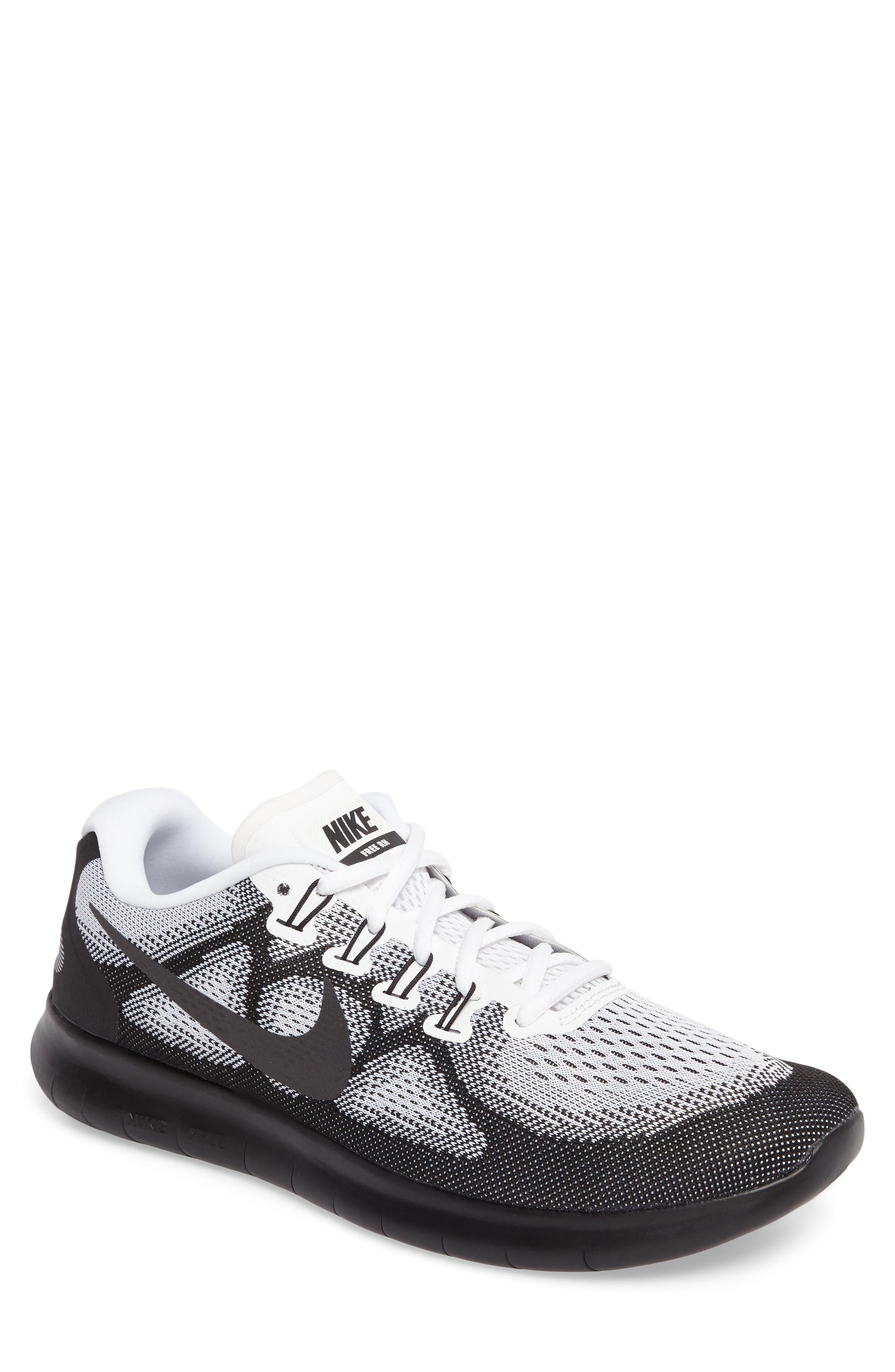 Free RN 2017 LE Running Shoe,                             Main thumbnail 1, color,                             Black/Black/White