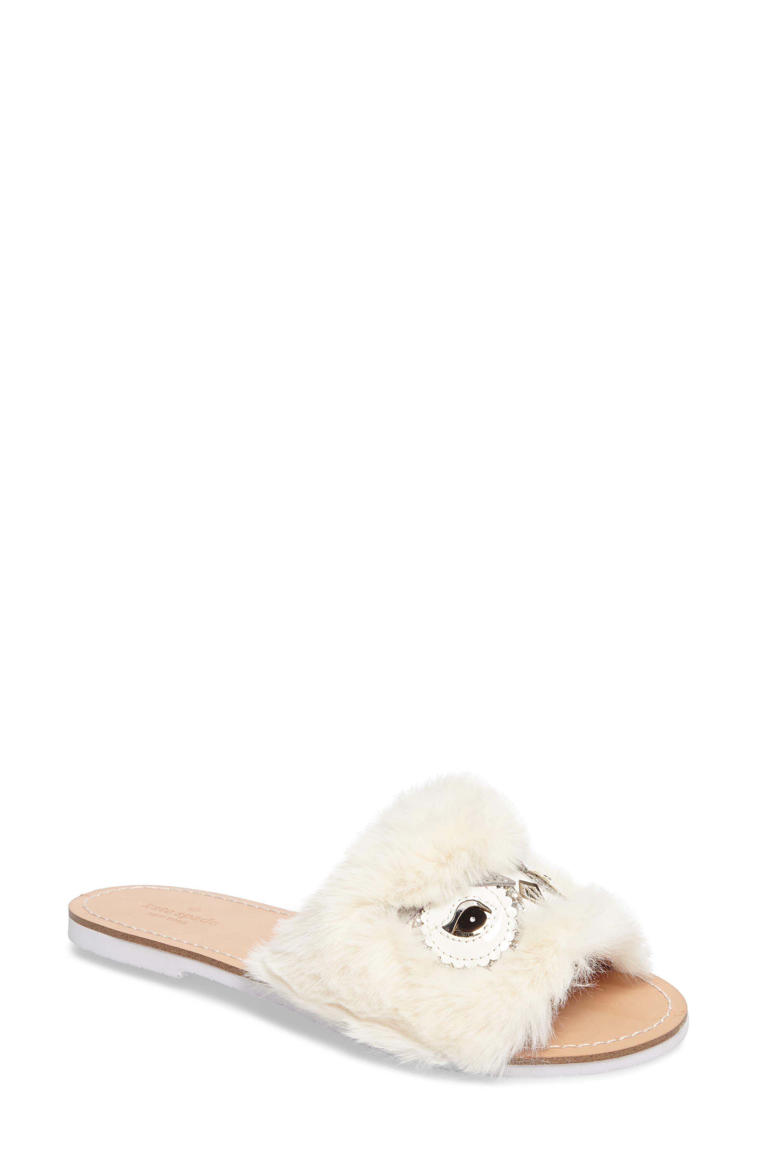 kate spade ingrid faux fur trim sandal (Women)