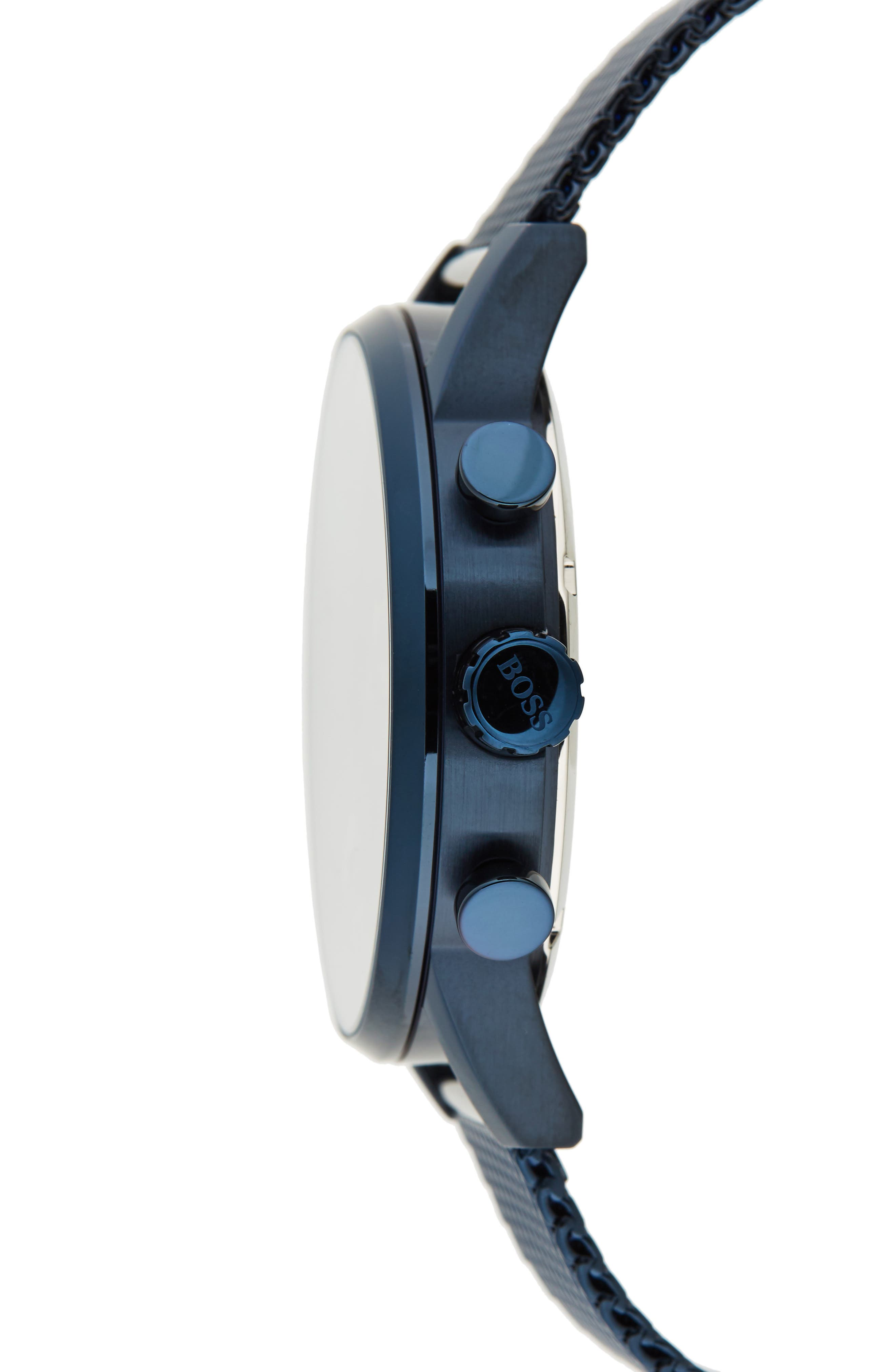 Navigator Chronograph Mesh Strap Watch, 44mm,                             Alternate thumbnail 3, color,                             Navy/ Navy