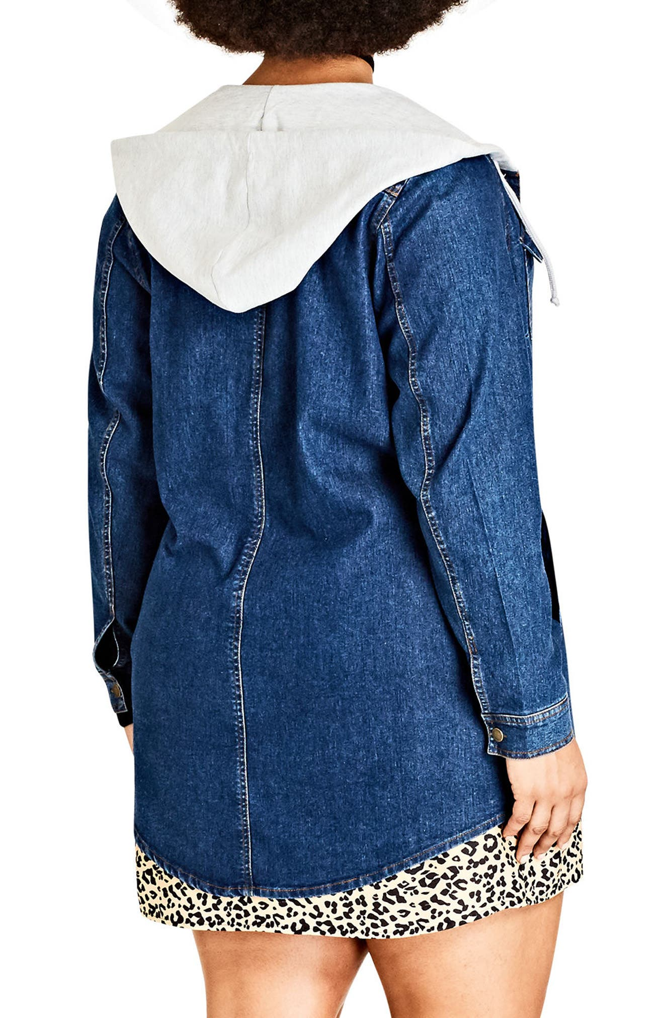 Alternate Image 2  - City Chic Denim Vibe Hooded Jacket (Plus Size)