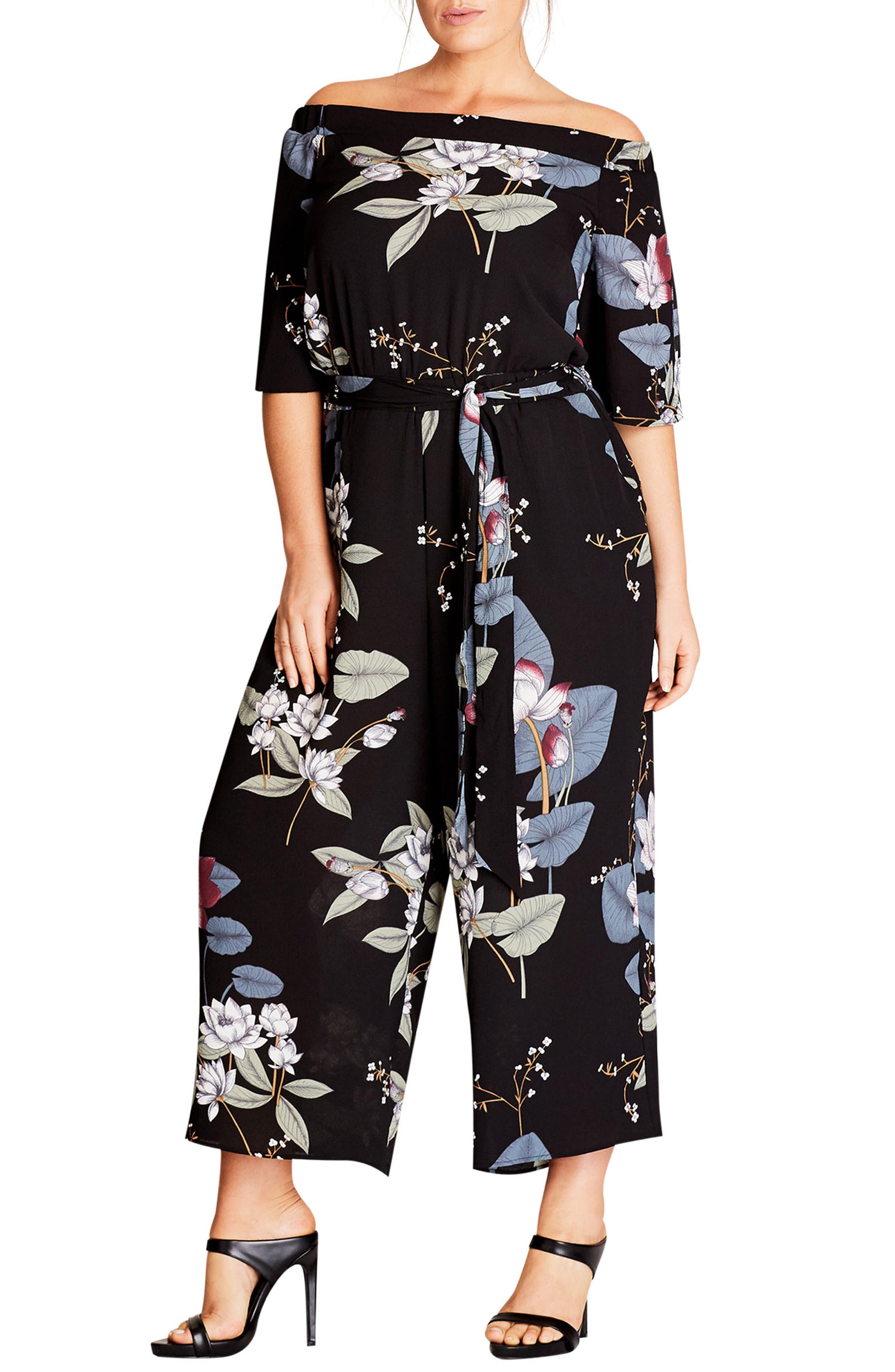 Main Image - City Chic Blossom Off the Shoulder Jumpsuit (Plus Size)