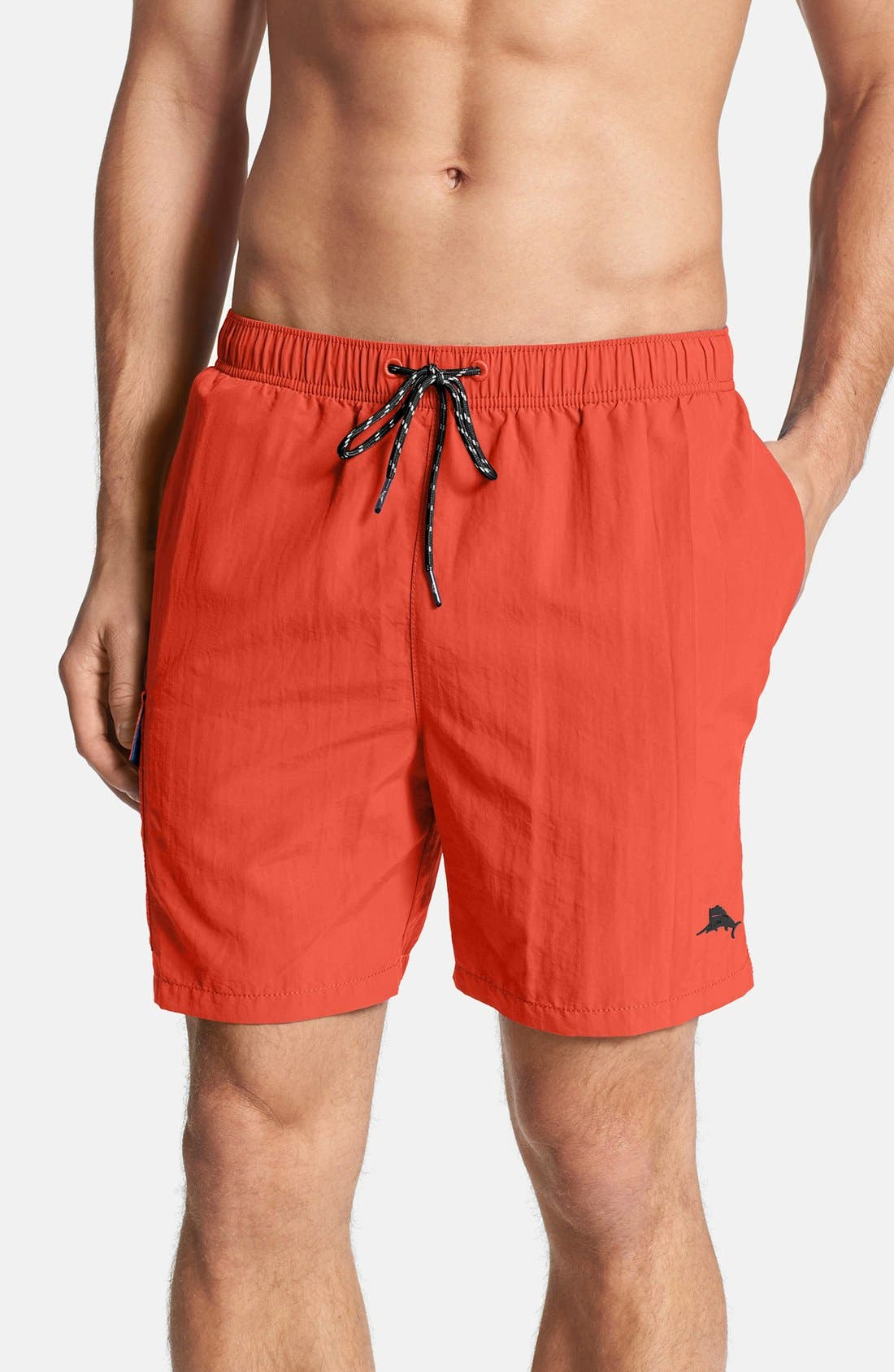 'The Naples Happy Go Cargo' Swim Trunks,                             Main thumbnail 1, color,                             Red Hot