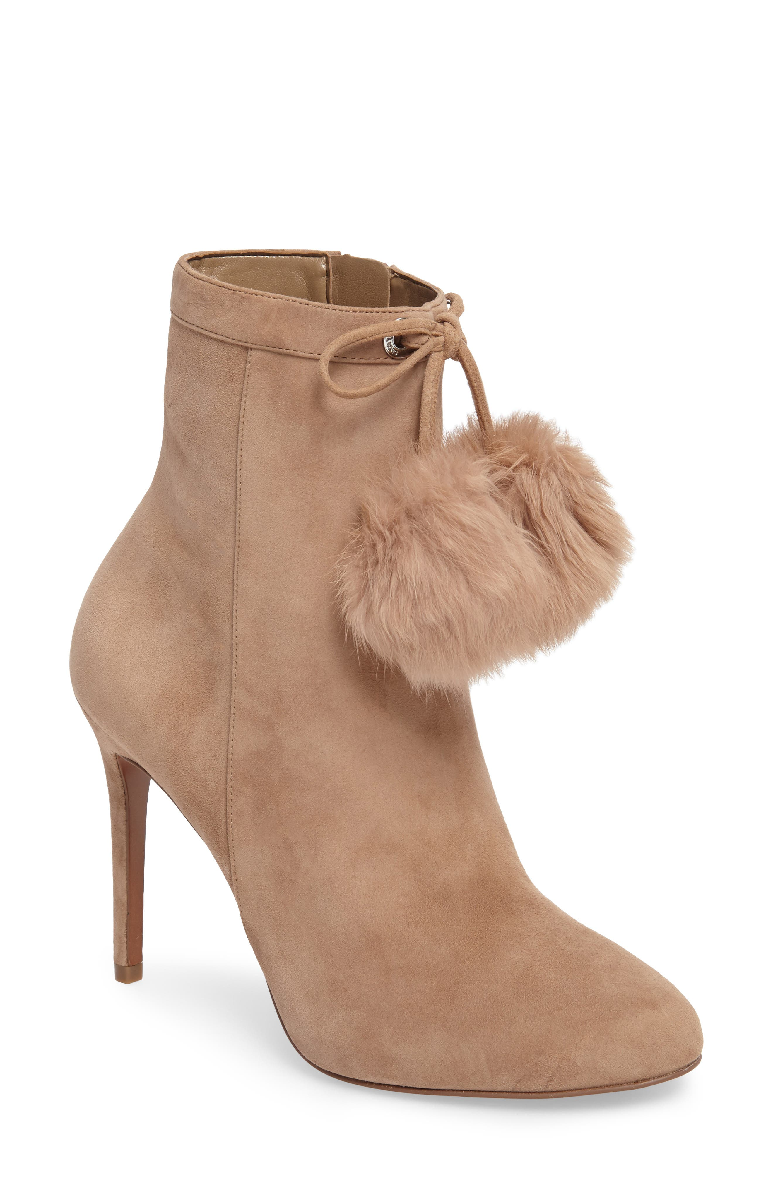MICHAEL Michael Kors Remi Bootie with Genuine Rabbit Fur Pom (Women)