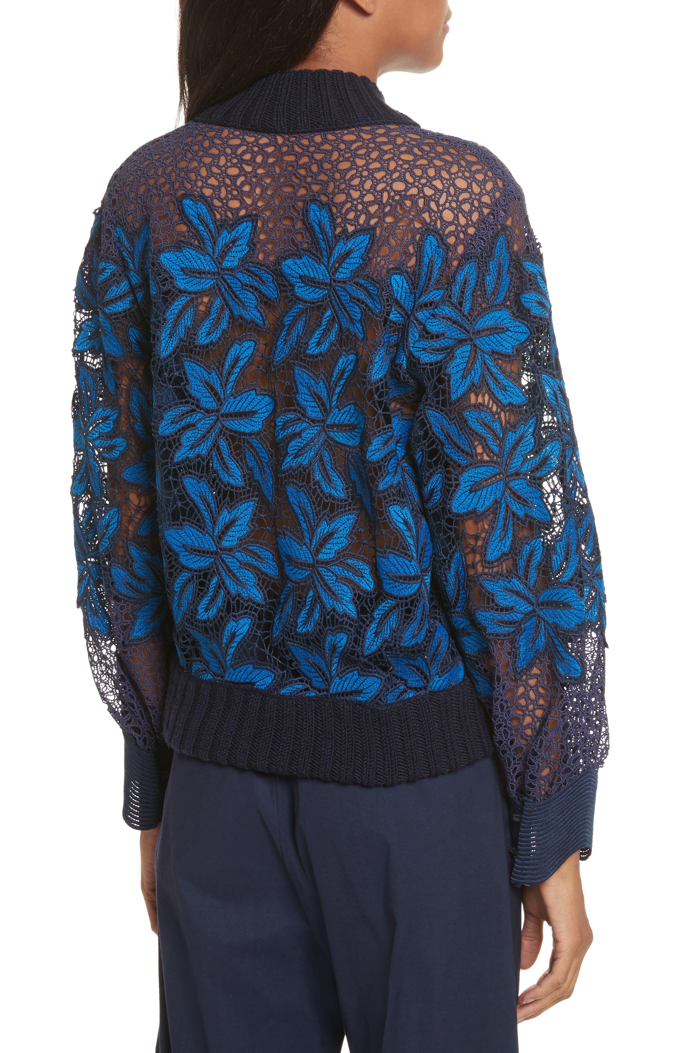 Mosaic Lace Bell Sleeve Sweatshirt,                             Alternate thumbnail 3, color,                             Blue Multi