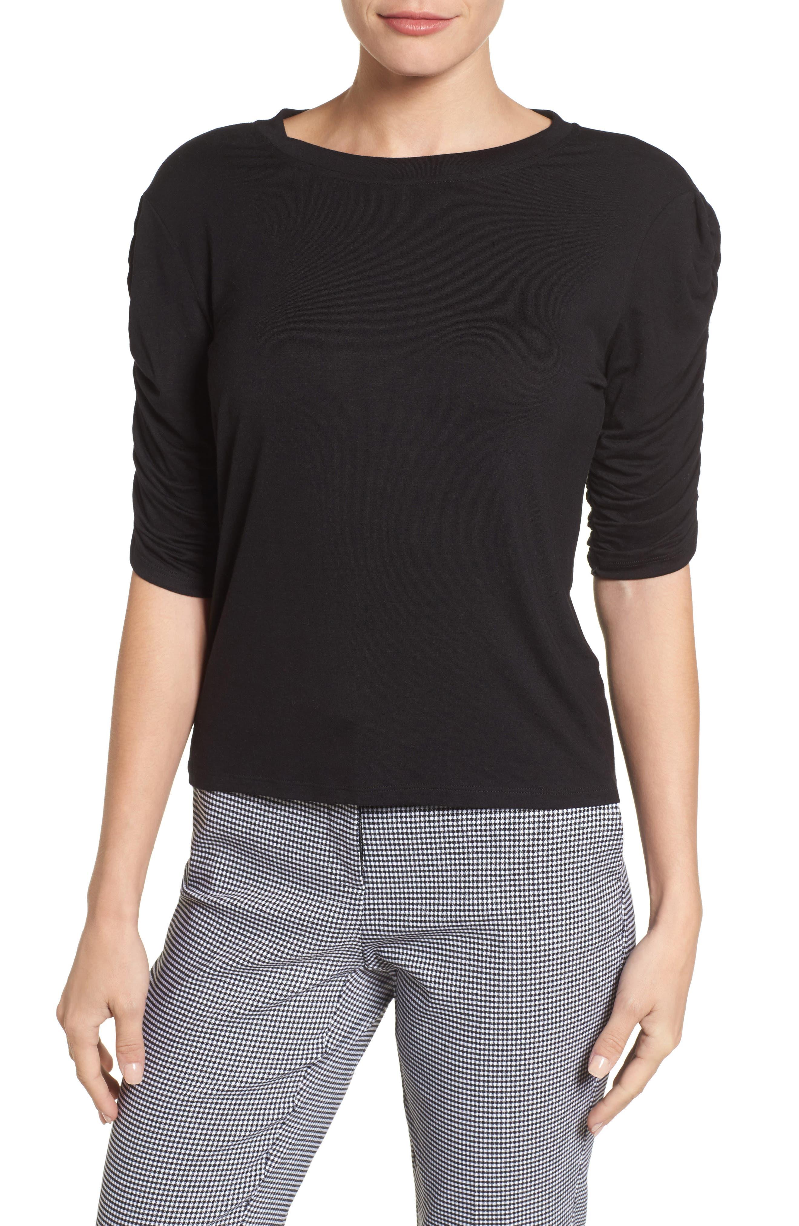 Cinch Sleeve Tee,                         Main,                         color, Black