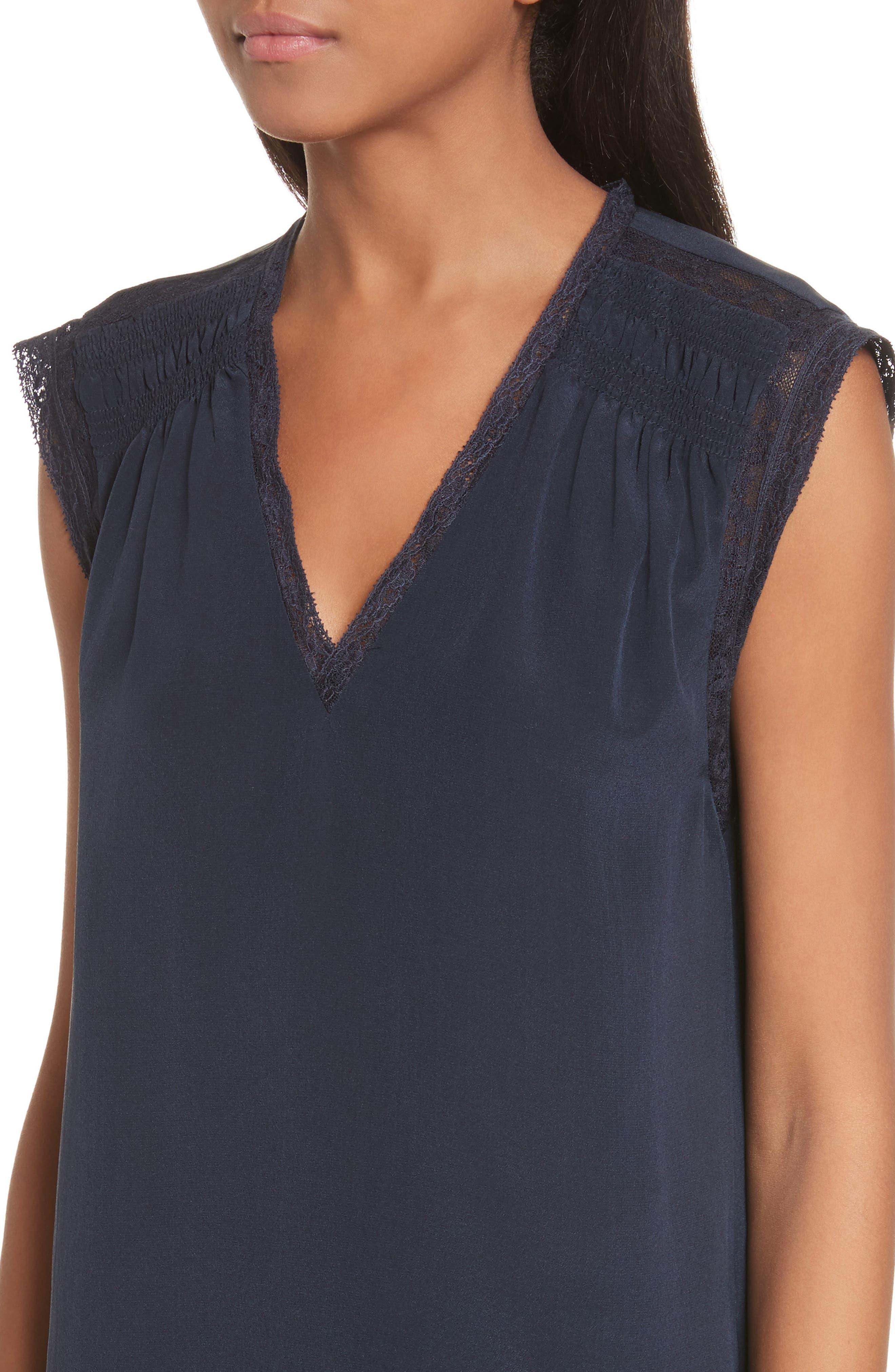 Alternate Image 4  - Rebecca Taylor Lace Trim Silk Top