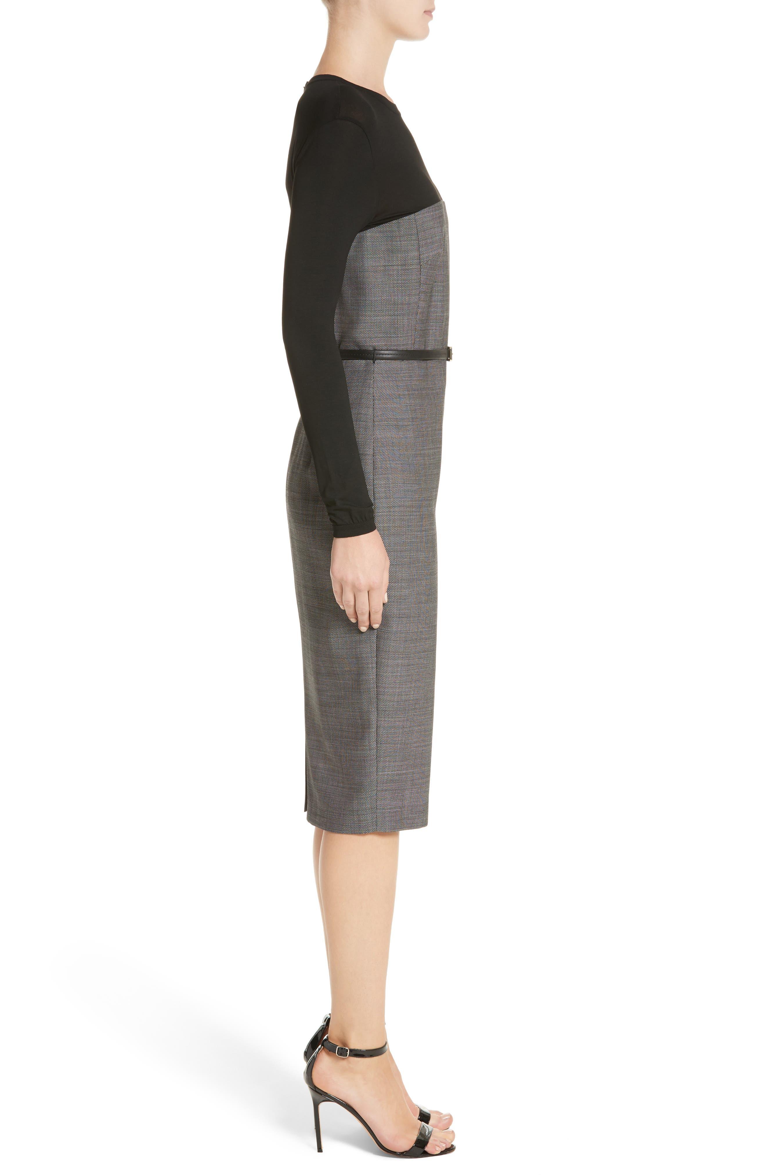 Canapa Stretch Wool Layered Sheath Dress,                             Alternate thumbnail 3, color,                             Black