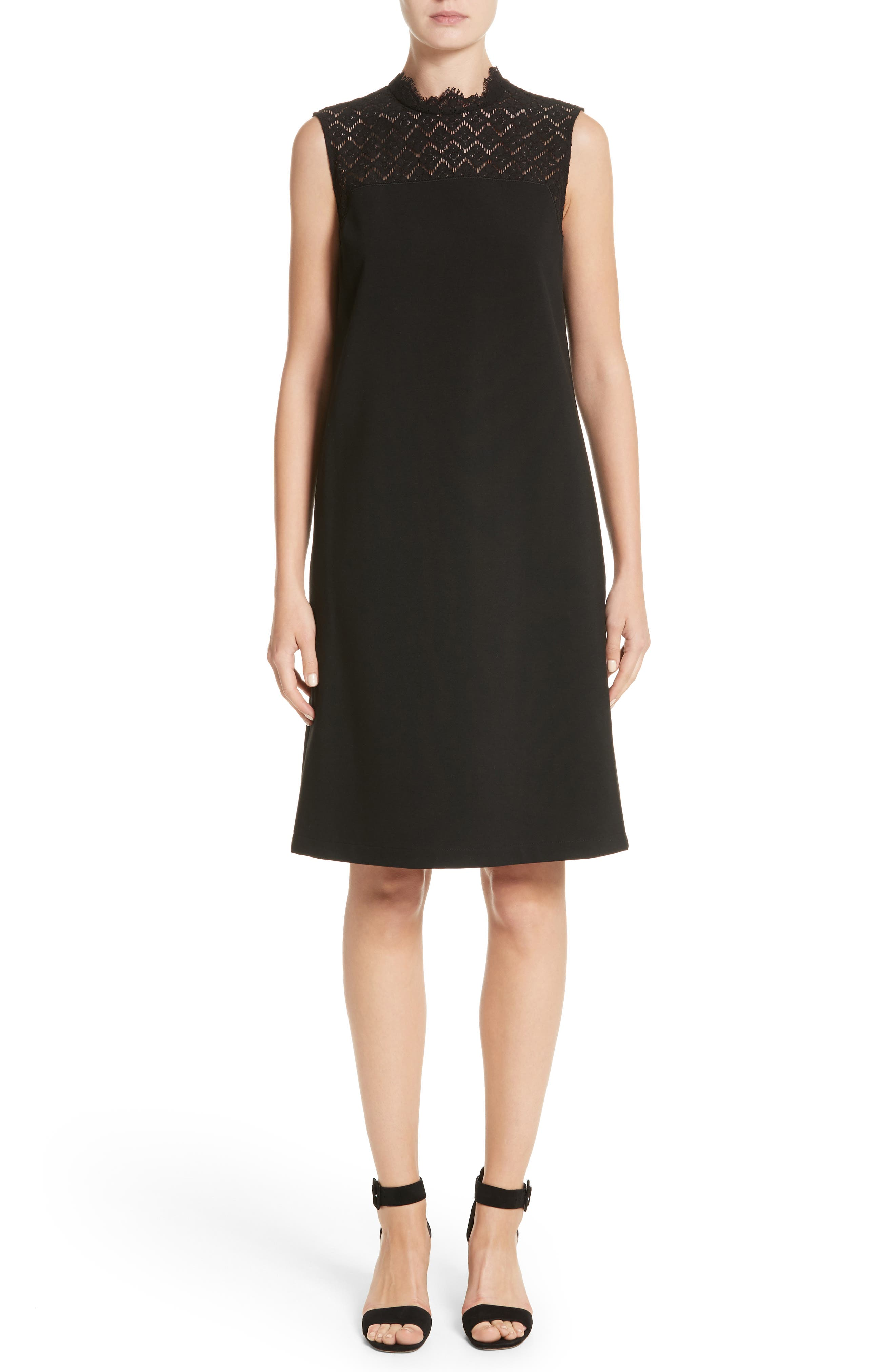Lafayette 148 New York Ines Lace Trim Shift Dress