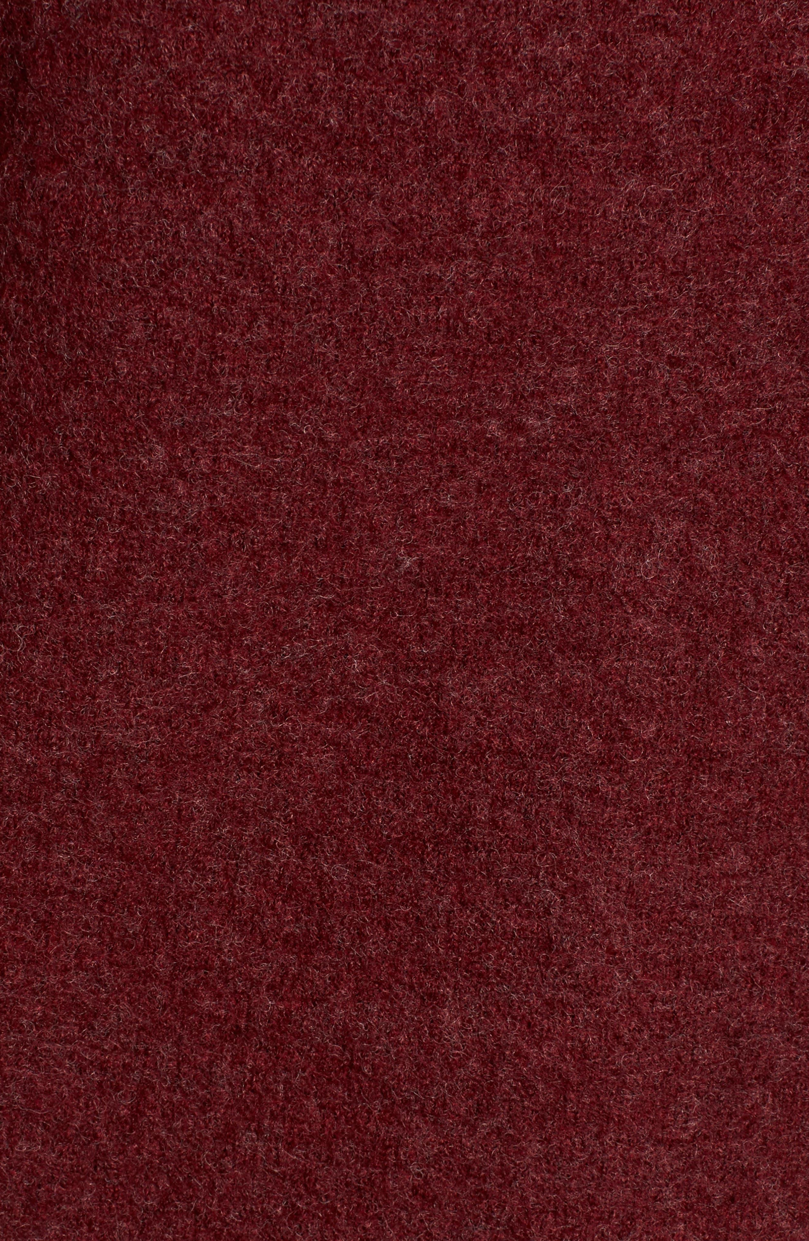 Boiled Wool Moto Jacket,                             Alternate thumbnail 5, color,                             Claret