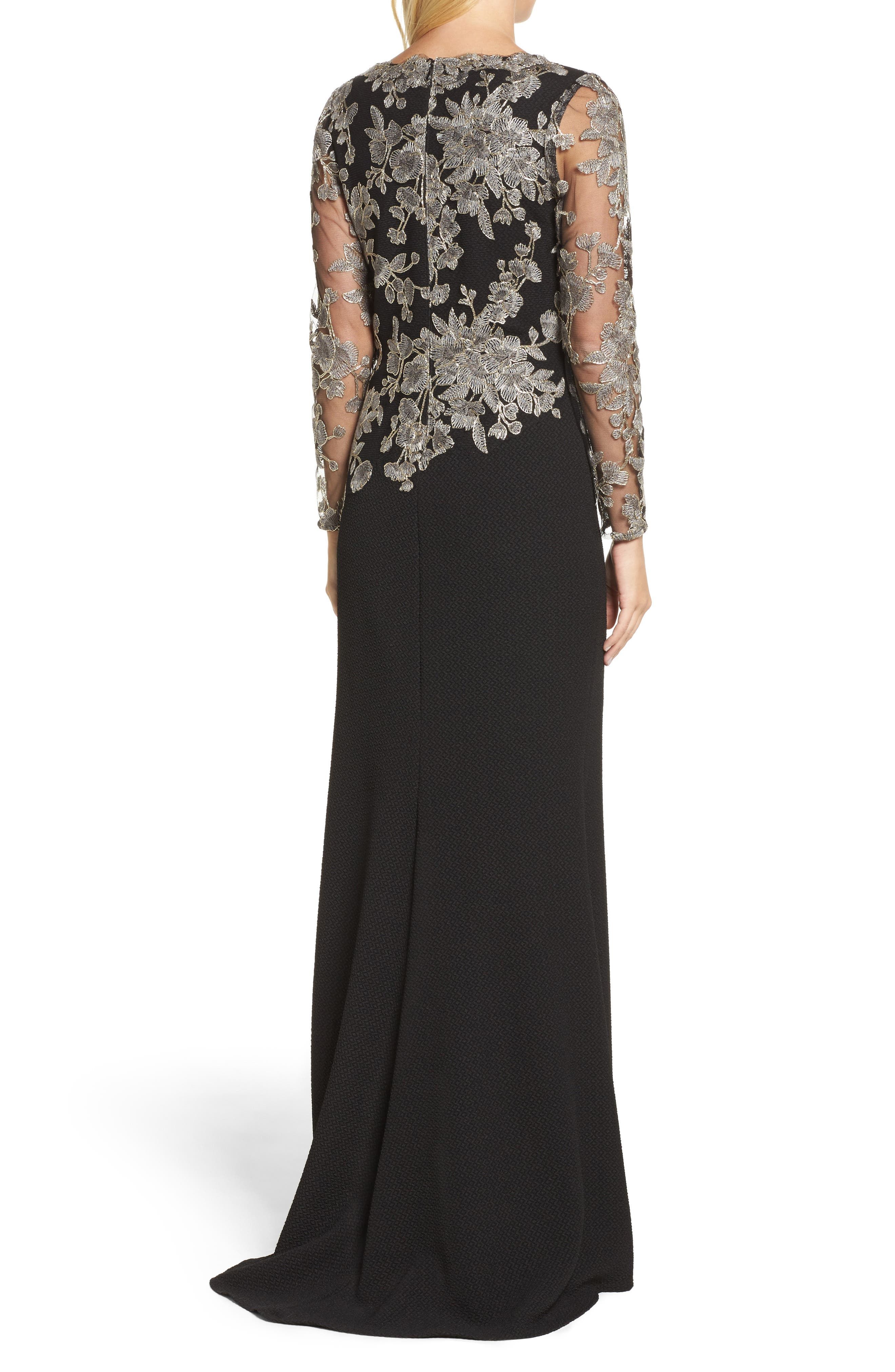 Embroidered Crepe Gown,                             Alternate thumbnail 2, color,                             Smoke Pearl/ Black