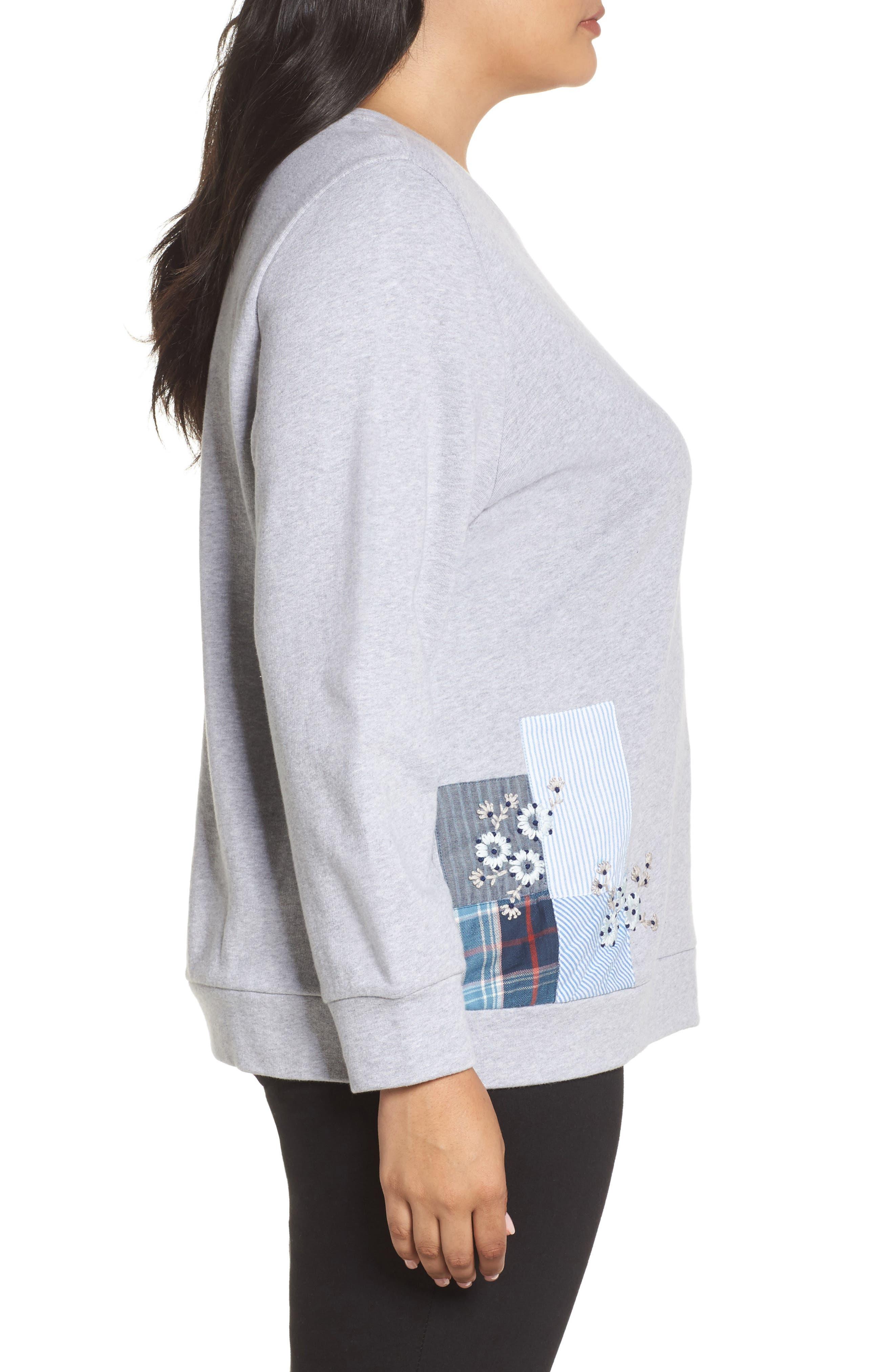 Patchwork Sweatshirt,                             Alternate thumbnail 3, color,                             Grey Floral