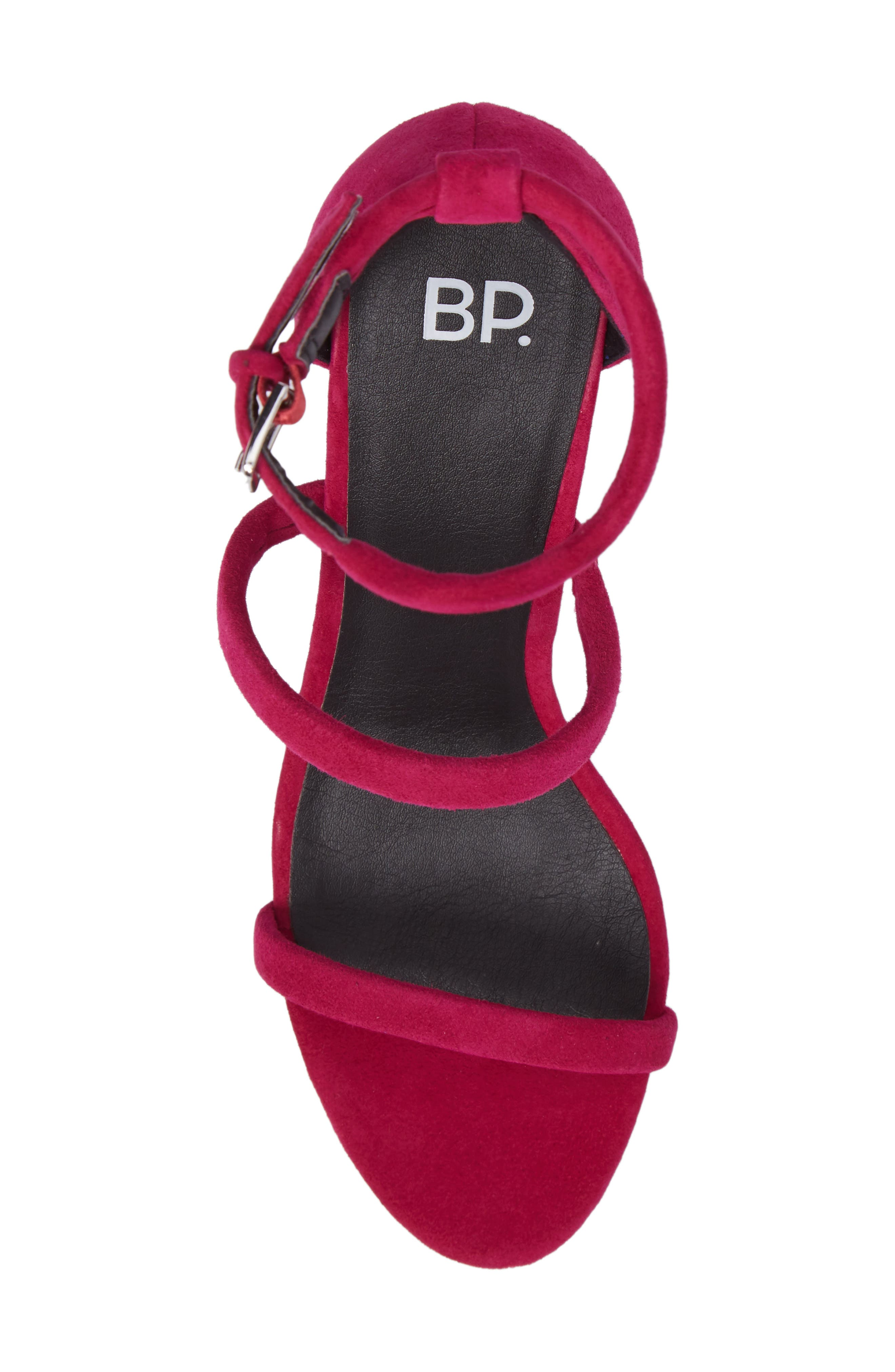 Carly Strappy Sandal,                             Alternate thumbnail 5, color,                             Fuschia Suede