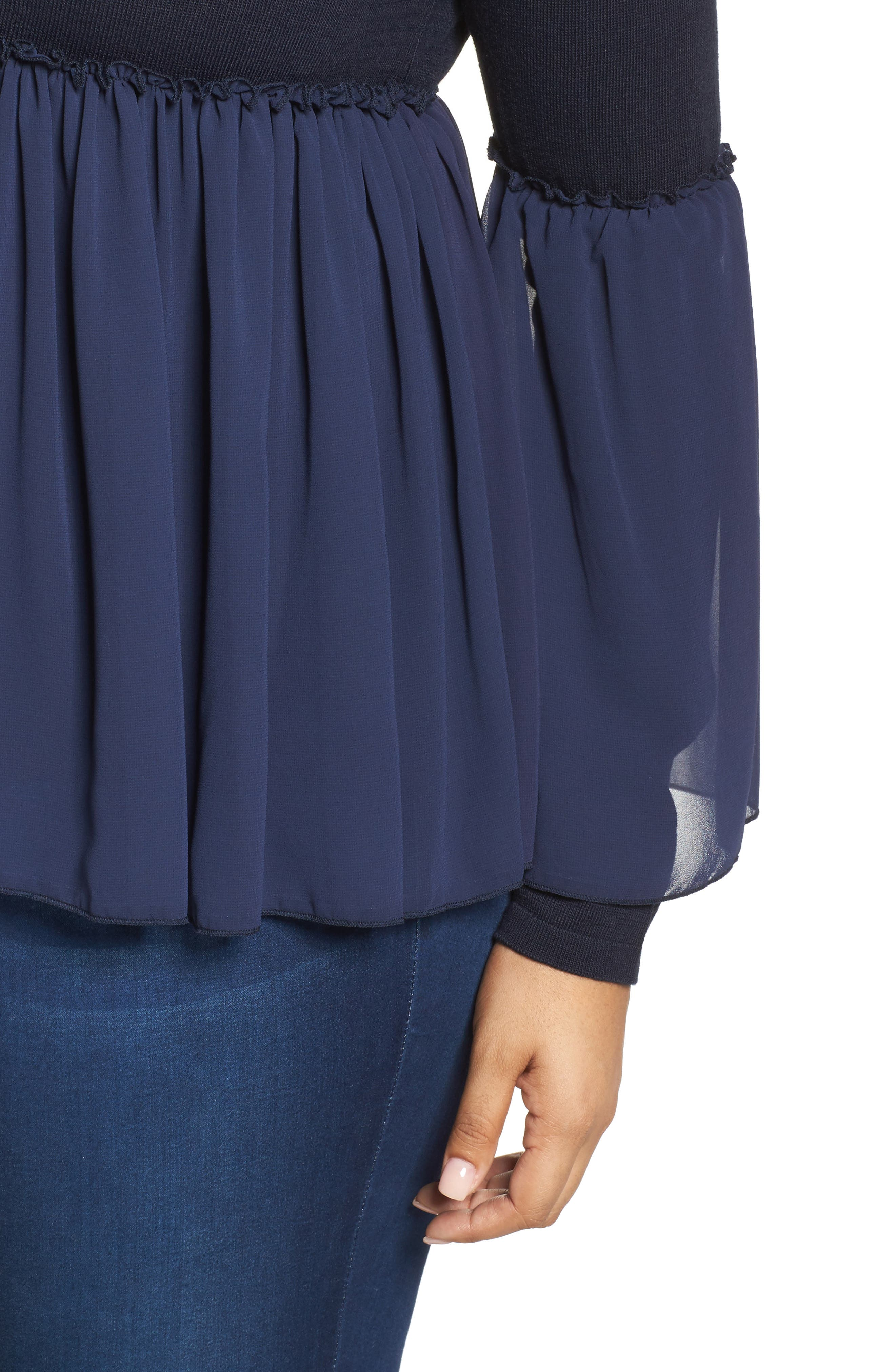 Smocked Chiffon Contrast Sweater,                             Alternate thumbnail 4, color,                             Navy
