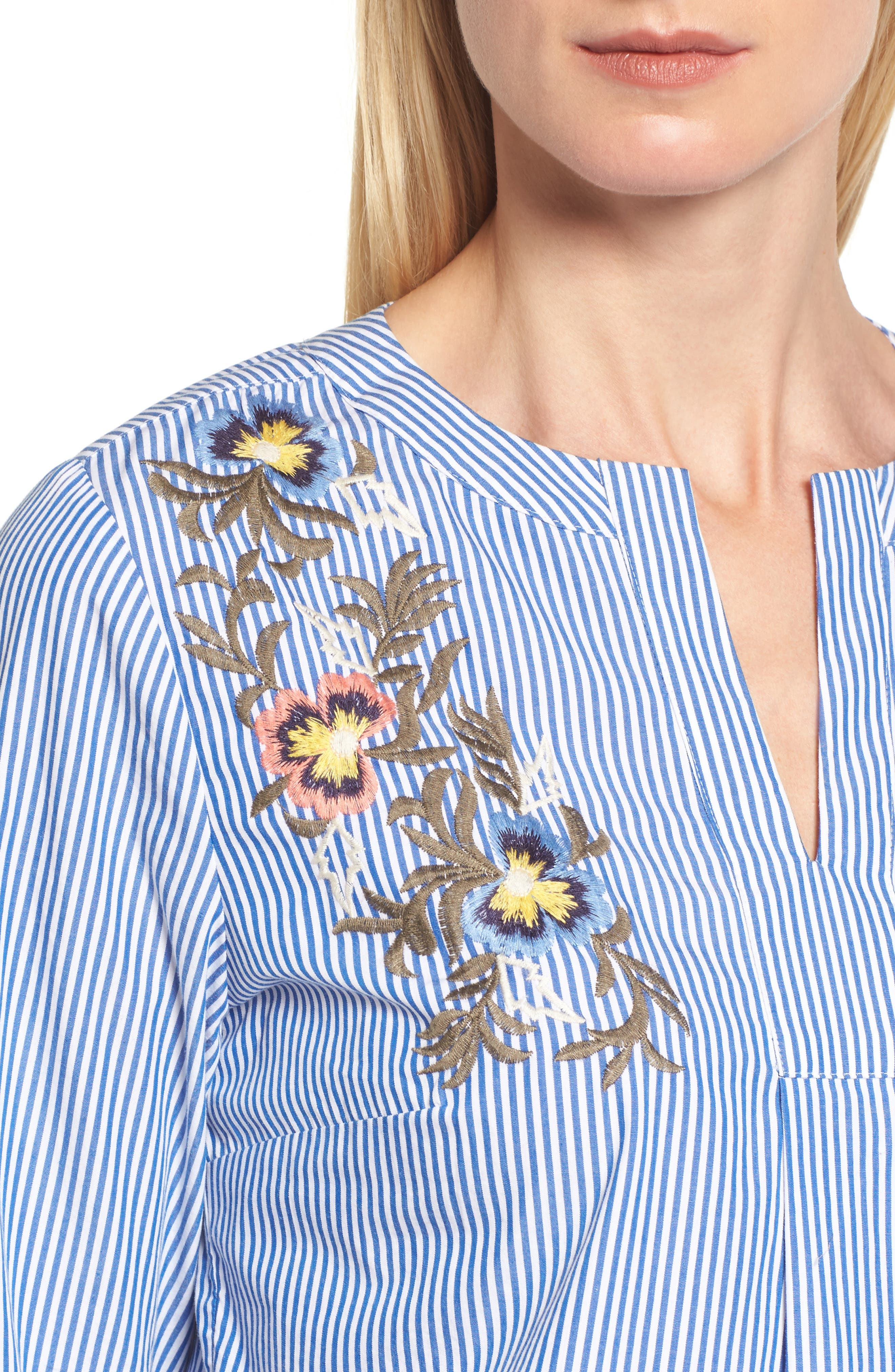 Embroidered Bell Sleeve Top,                             Alternate thumbnail 4, color,                             Blue- White Pattern